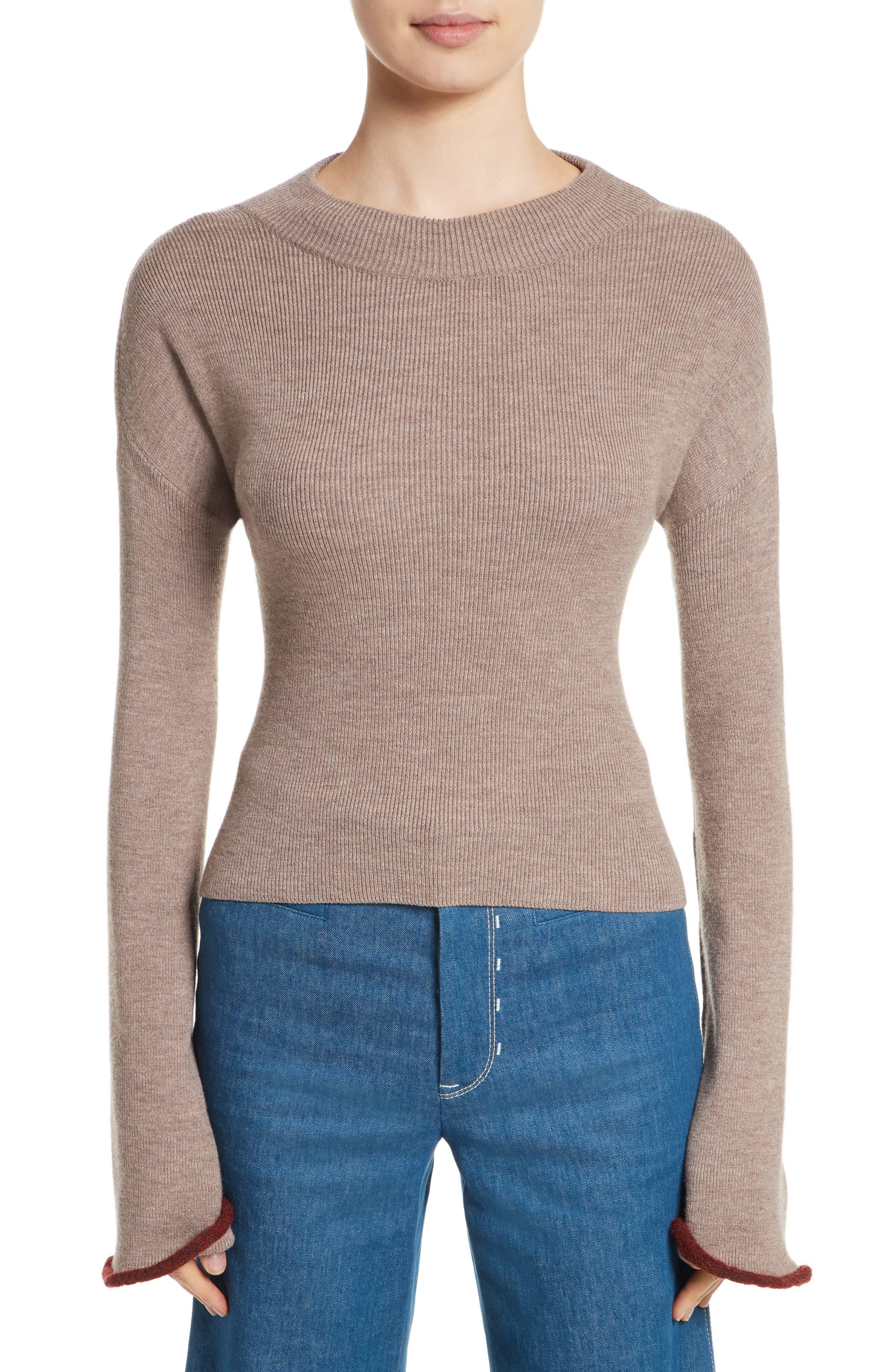 Mock Neck Sweater,                         Main,                         color, Walnut