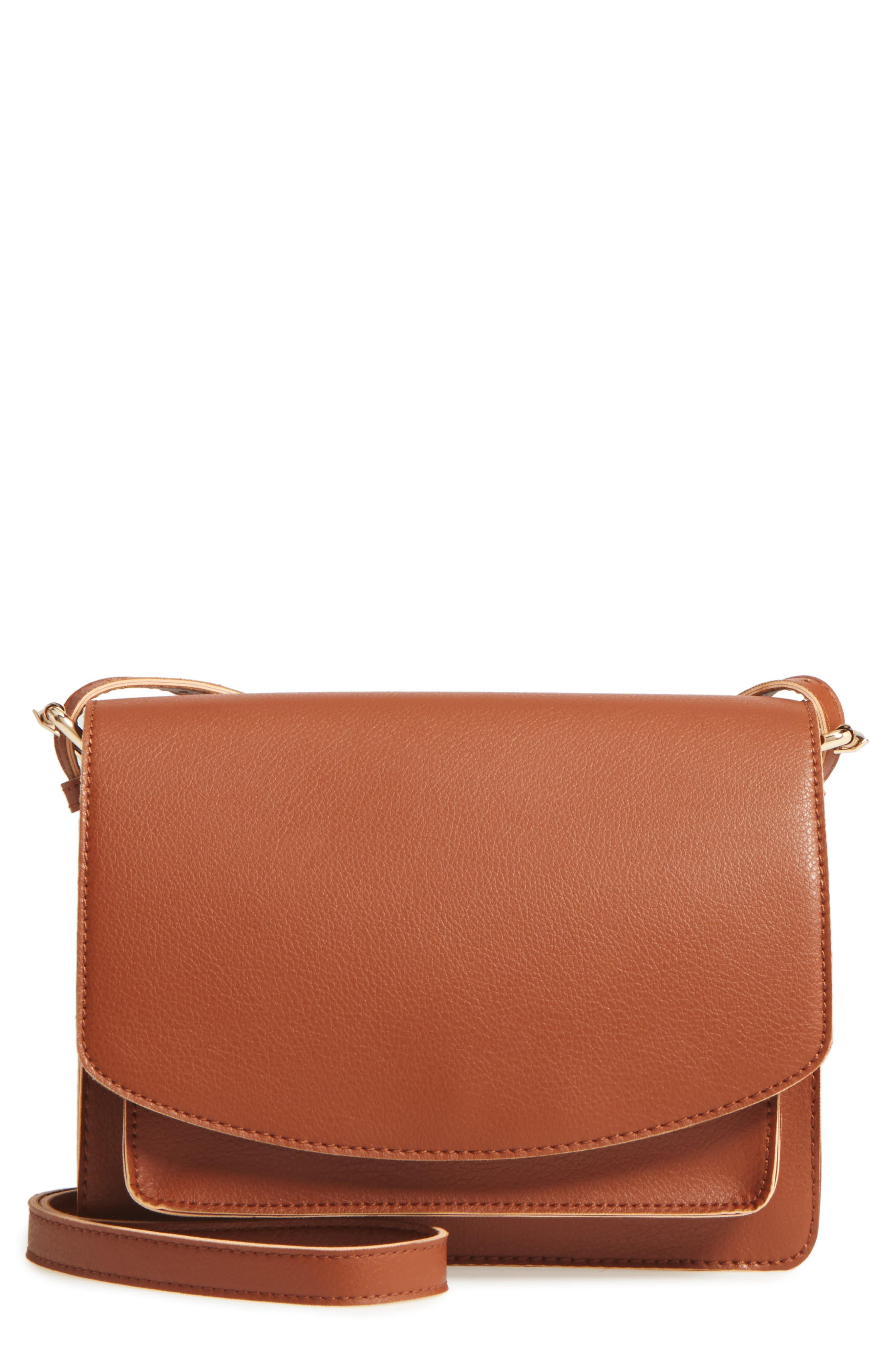 'Michelle' Faux Leather Crossbody Bag,                             Main thumbnail 1, color,                             New Cognac