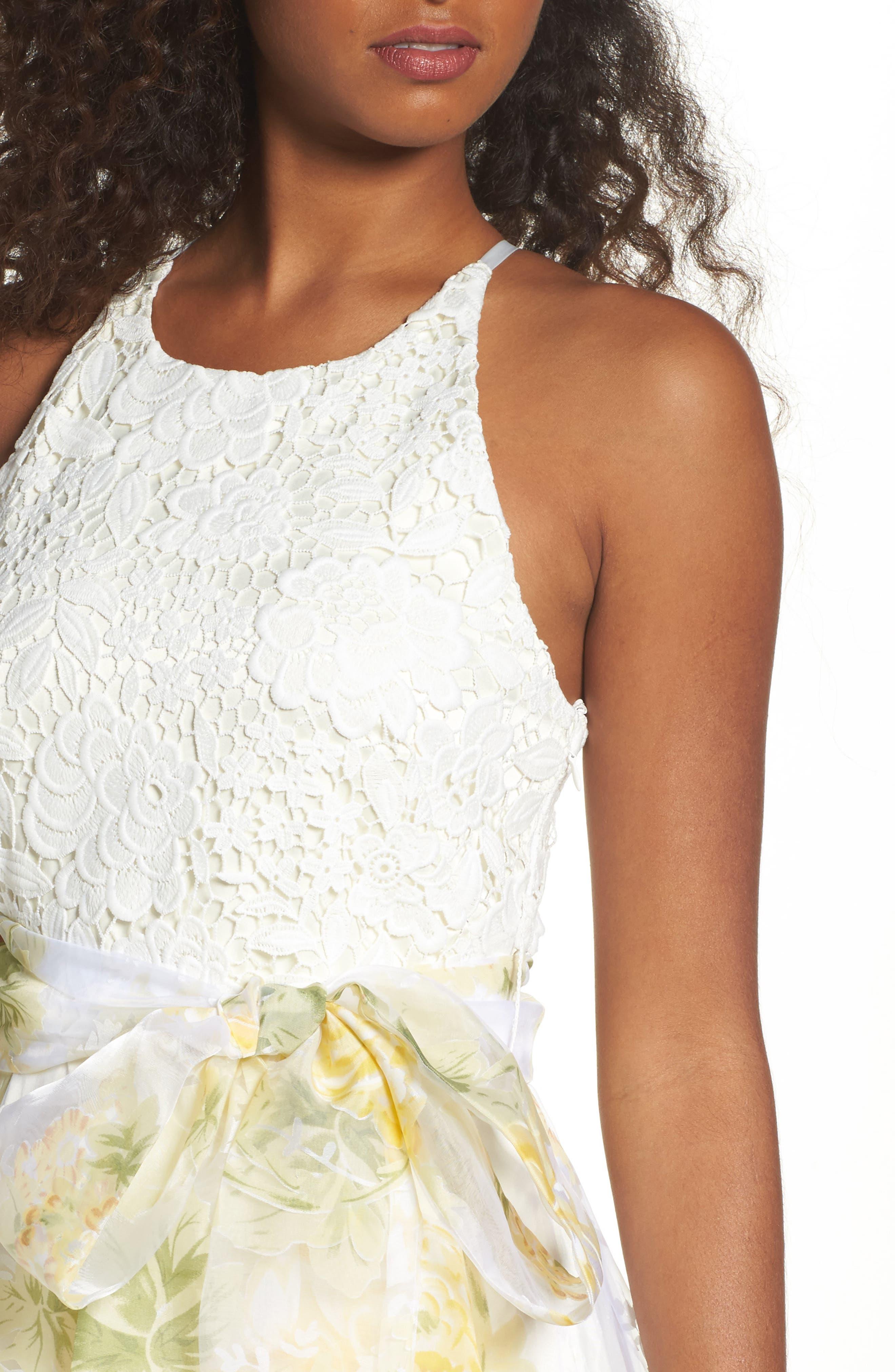 Alternate Image 4  - Eliza J Crochet & Floral Organza Halter Gown
