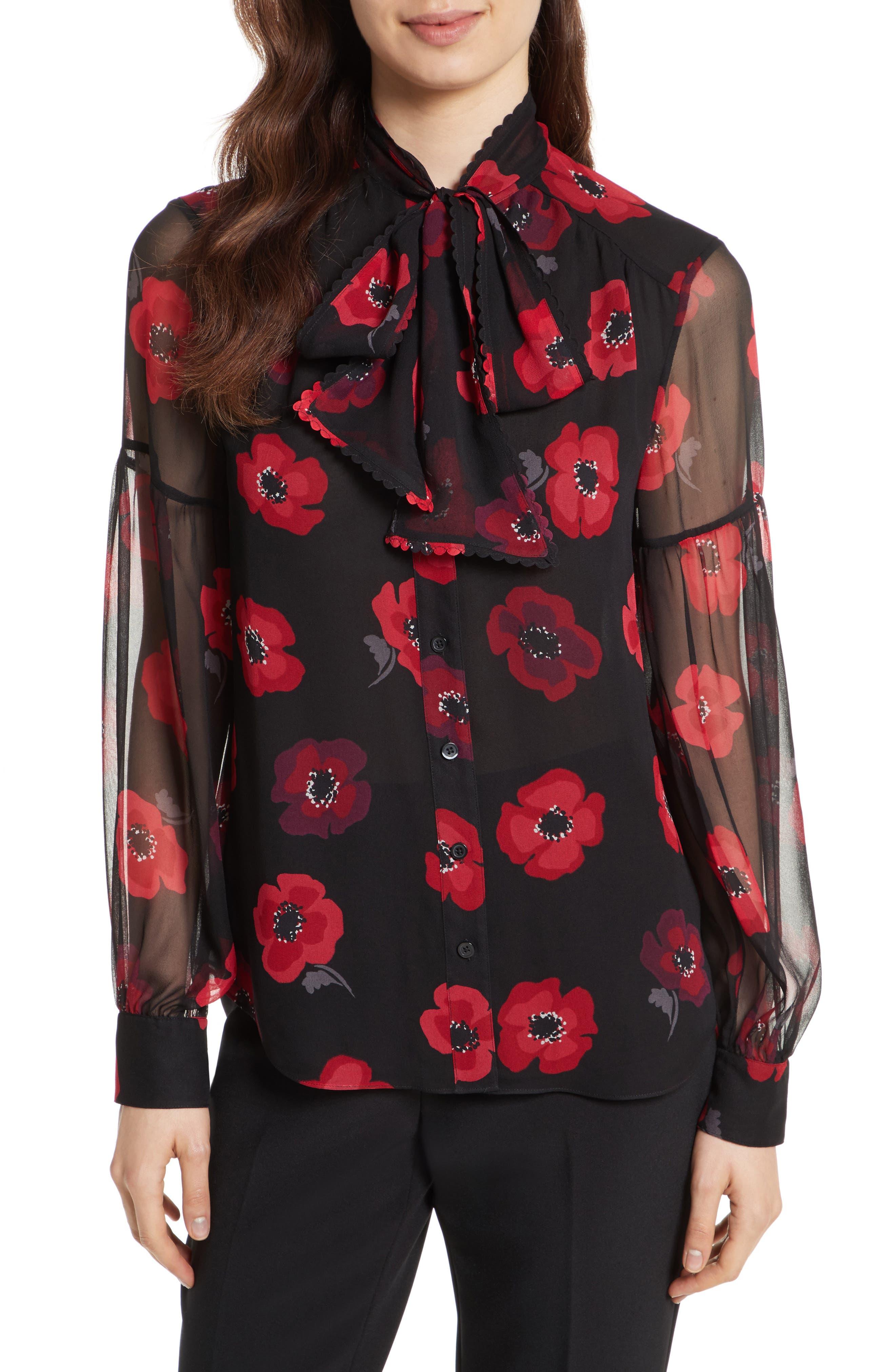 kate spade new york poppy chiffon bow blouse