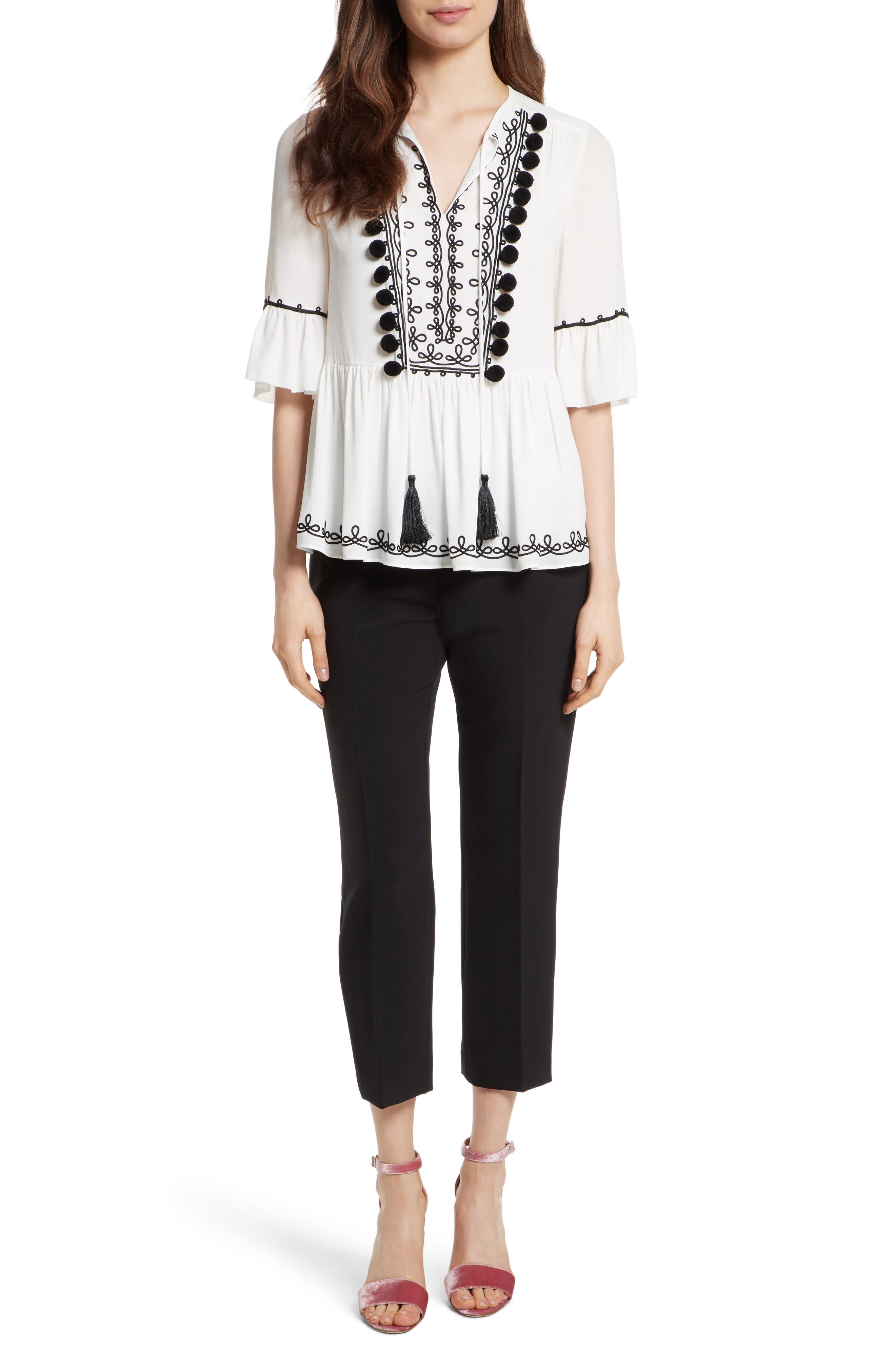 pom embroidered top,                             Alternate thumbnail 2, color,                             Cream