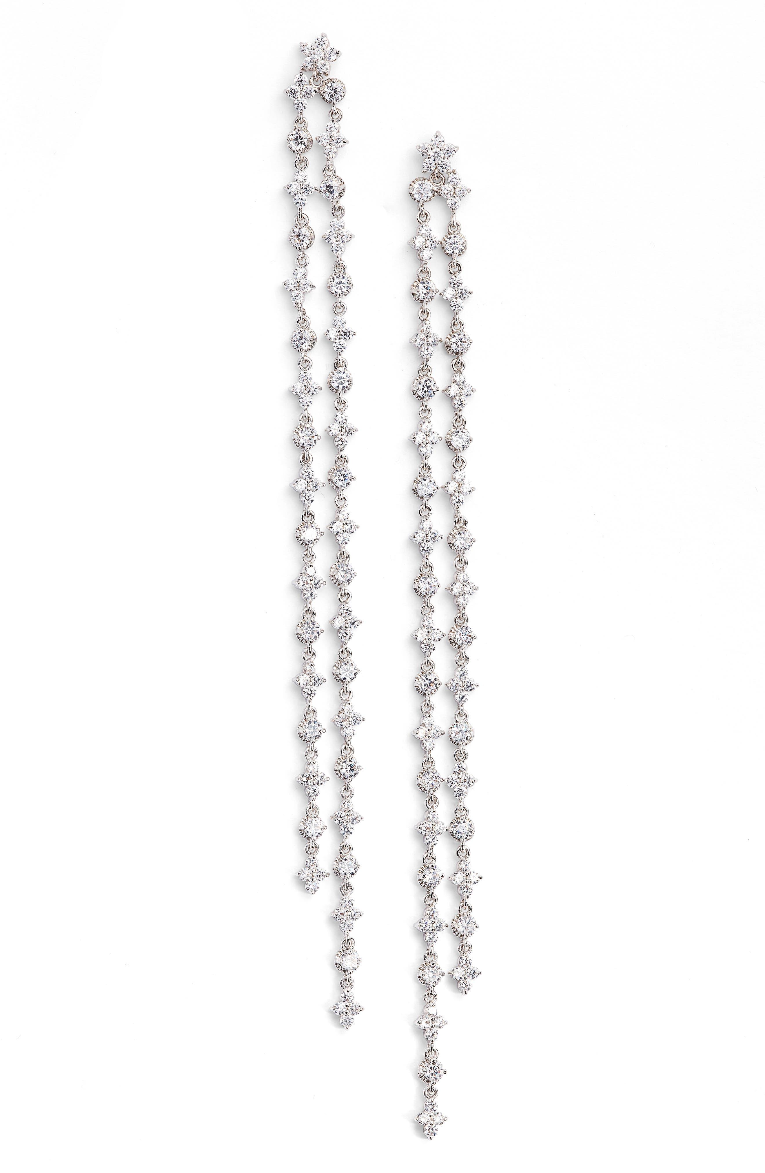 CZ BY KENNETH JAY LANE Extra Long Linear Earrings