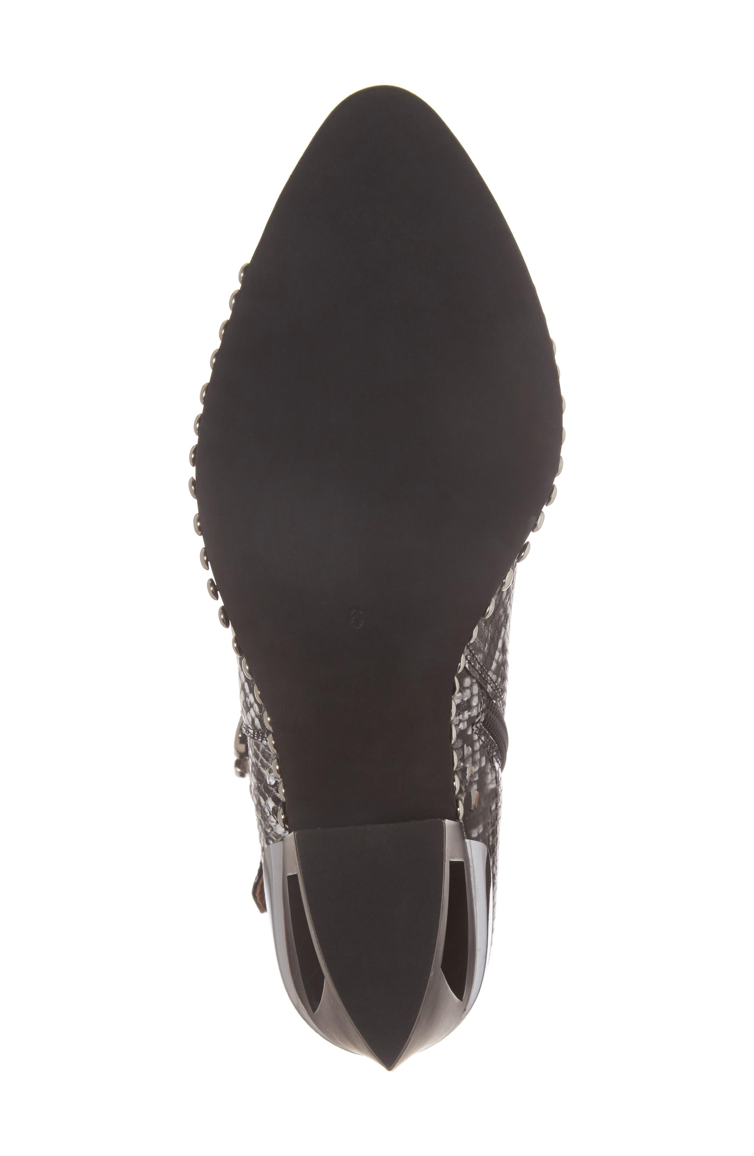 Verdant Studded Snakeskin Embossed Bootie,                             Alternate thumbnail 6, color,                             Black Grey Snake Silver
