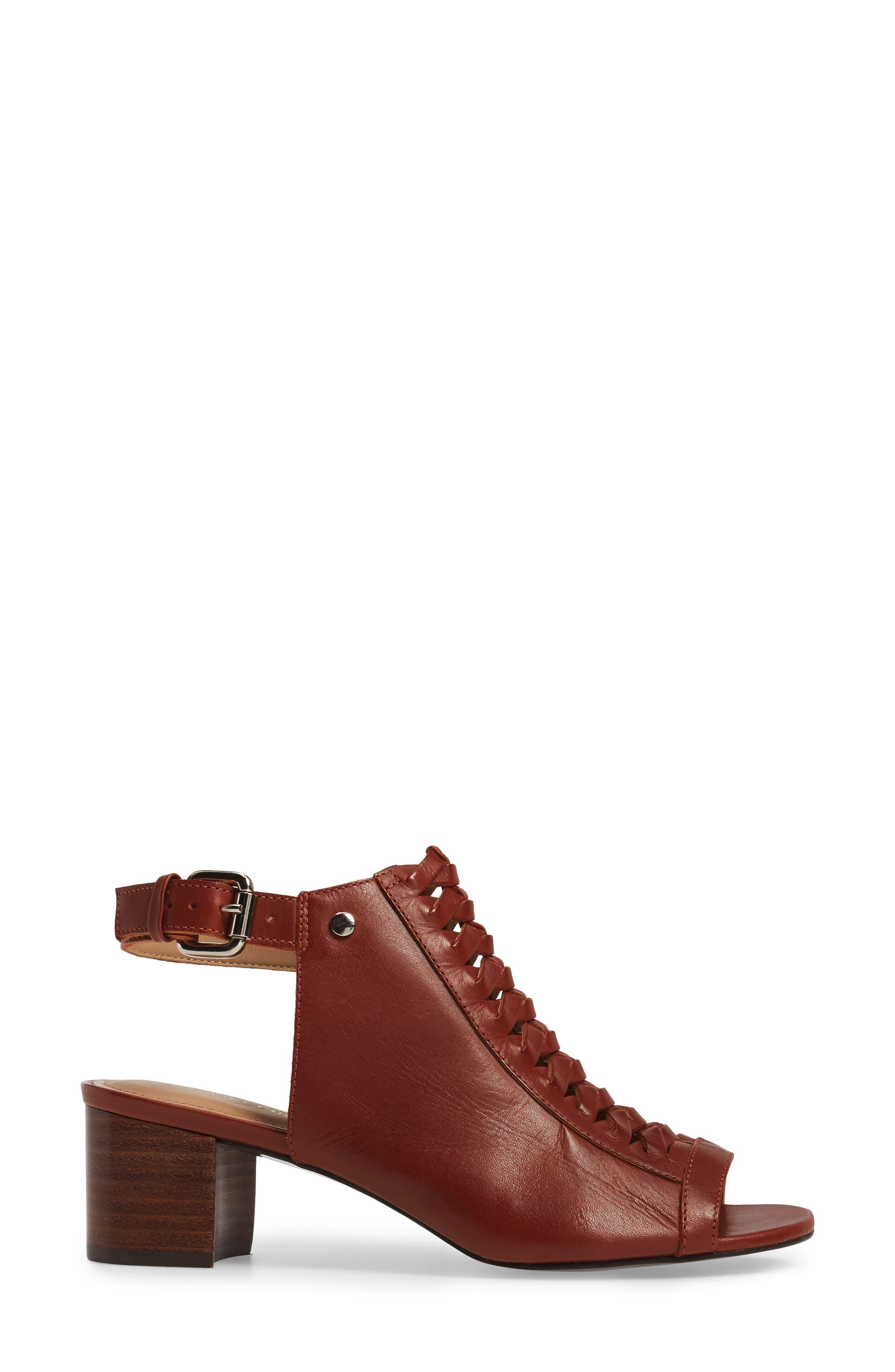 Dallas Woven Sandal,                             Alternate thumbnail 3, color,                             Cognac Leather