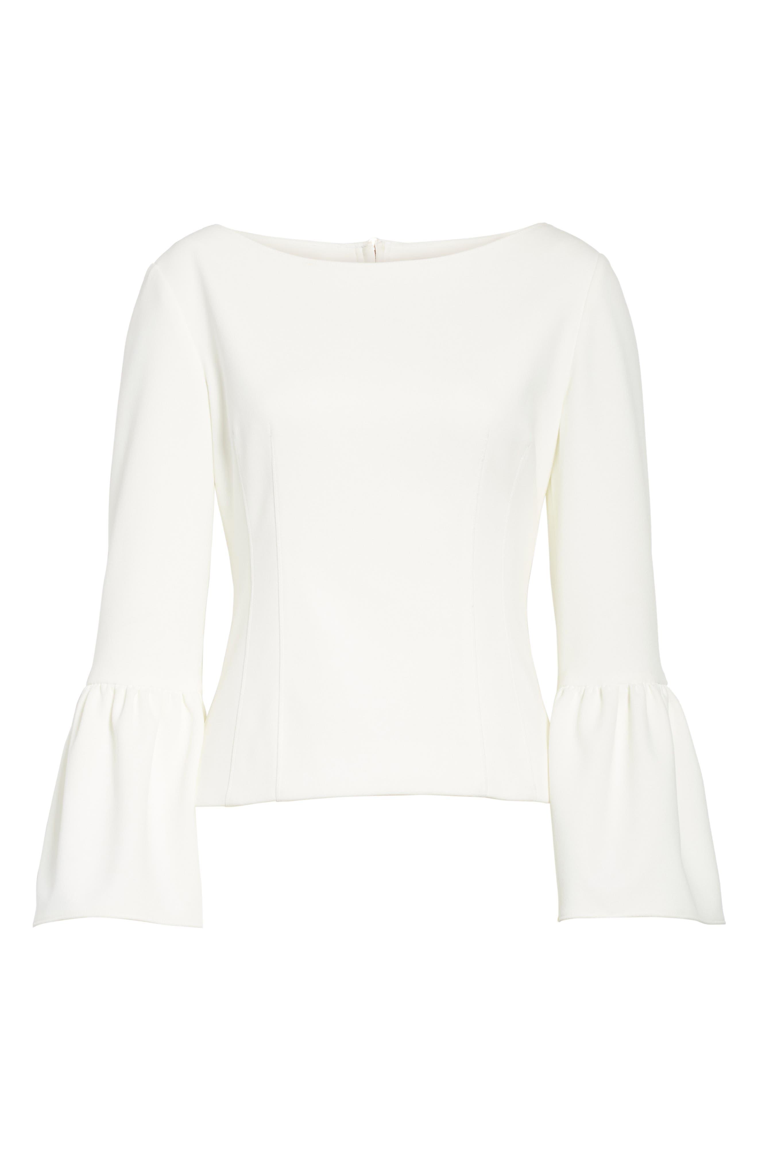 Stretch Crepe Corset Top,                             Alternate thumbnail 6, color,                             White