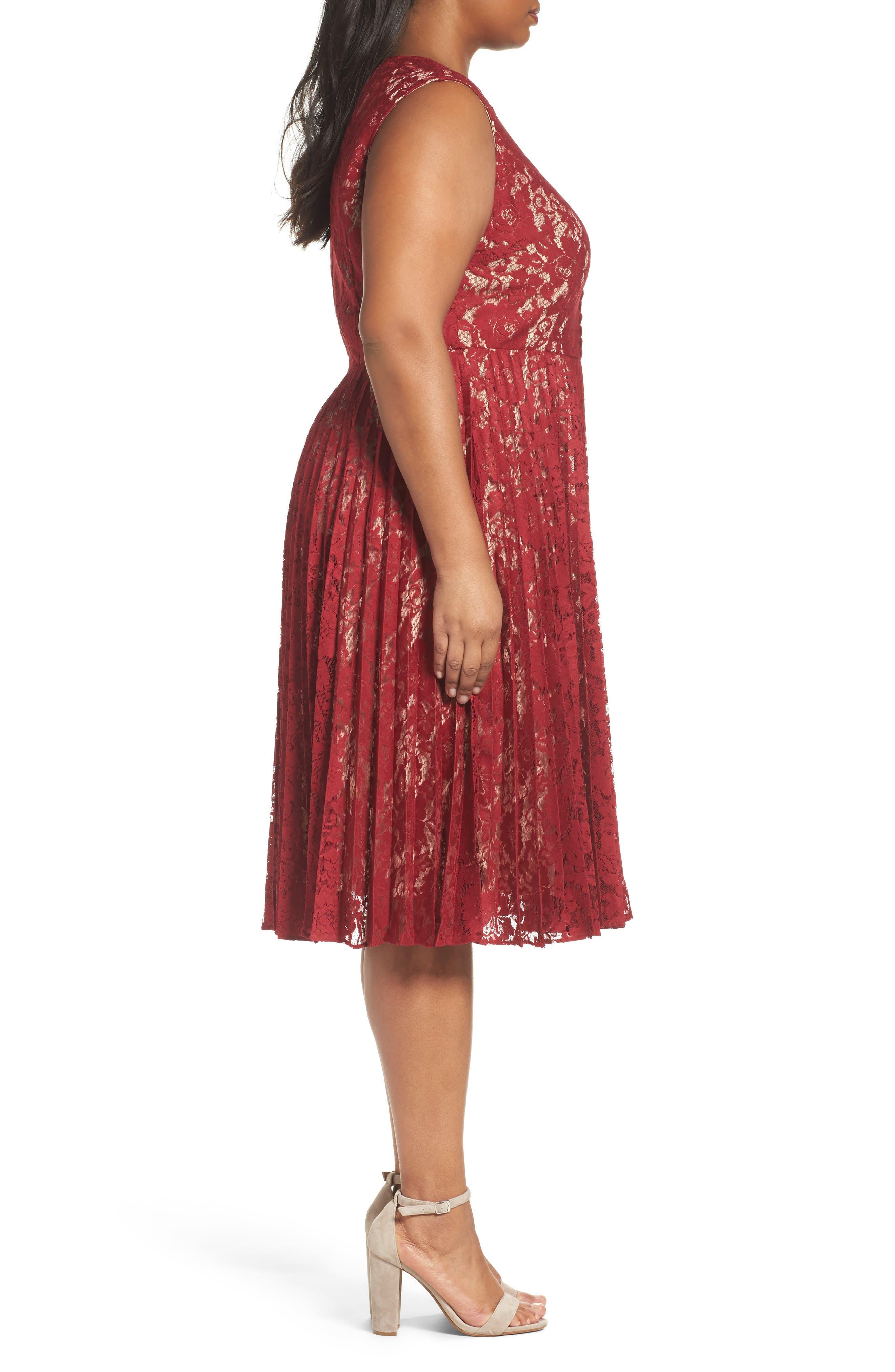 Alternate Image 3  - Gabby Skye Illusion Lace Pleat Midi Dress (Plus Size)