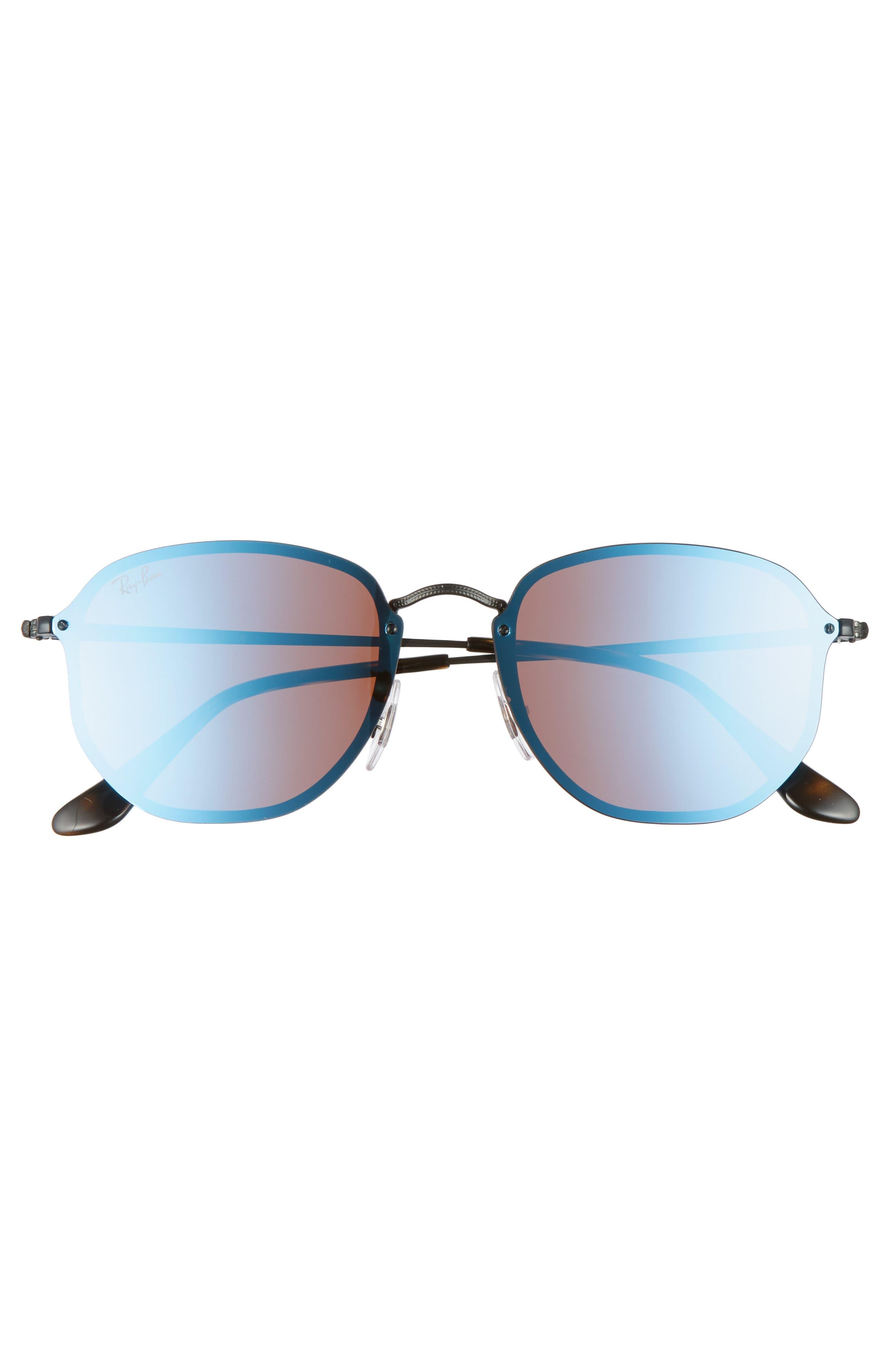 58mm Round Sunglasses,                             Alternate thumbnail 4, color,                             Shiny Black