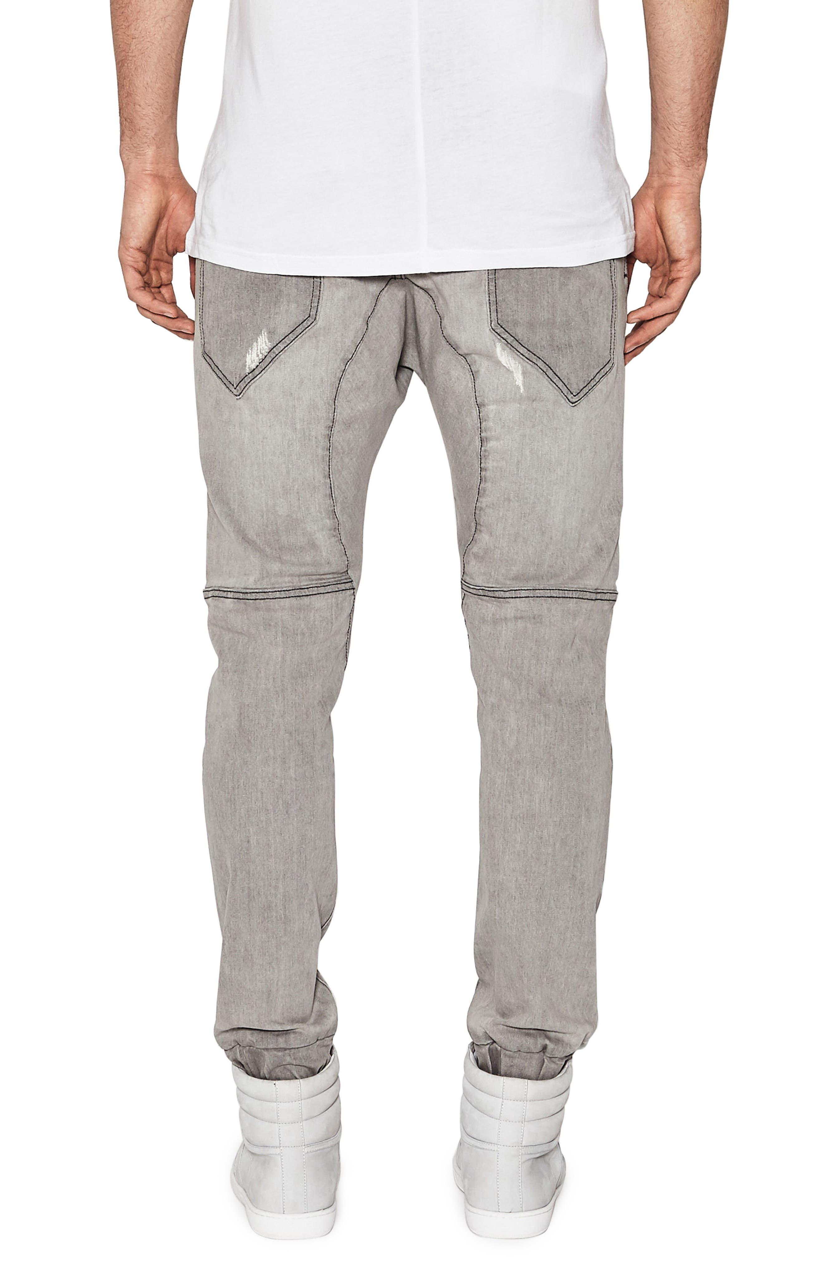 Destroyer Moto Denim Jogger Pants,                             Alternate thumbnail 2, color,                             Wolf Grey