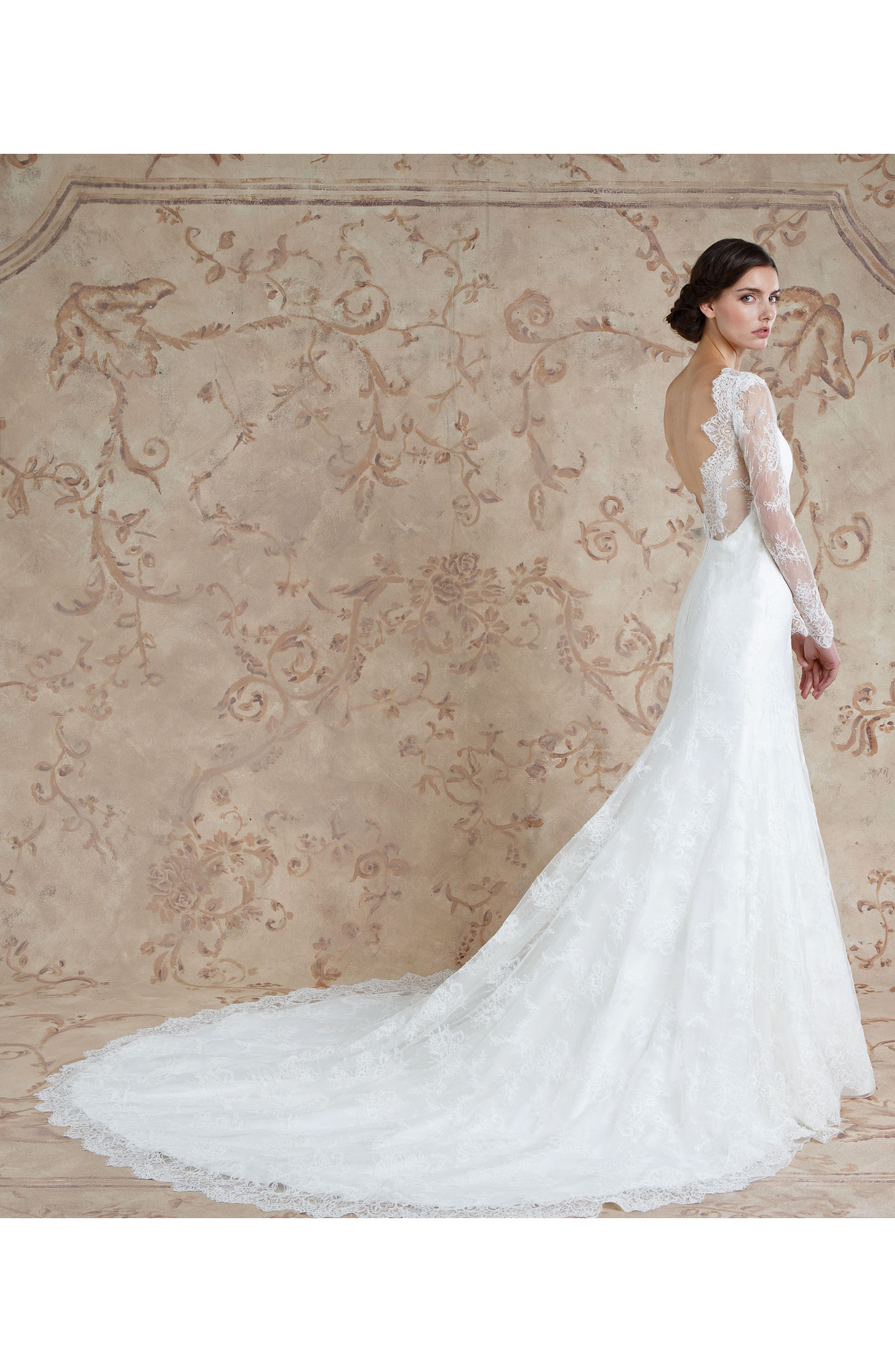 Miriam Lace Trumpet Gown,                             Alternate thumbnail 3, color,                             Ivory