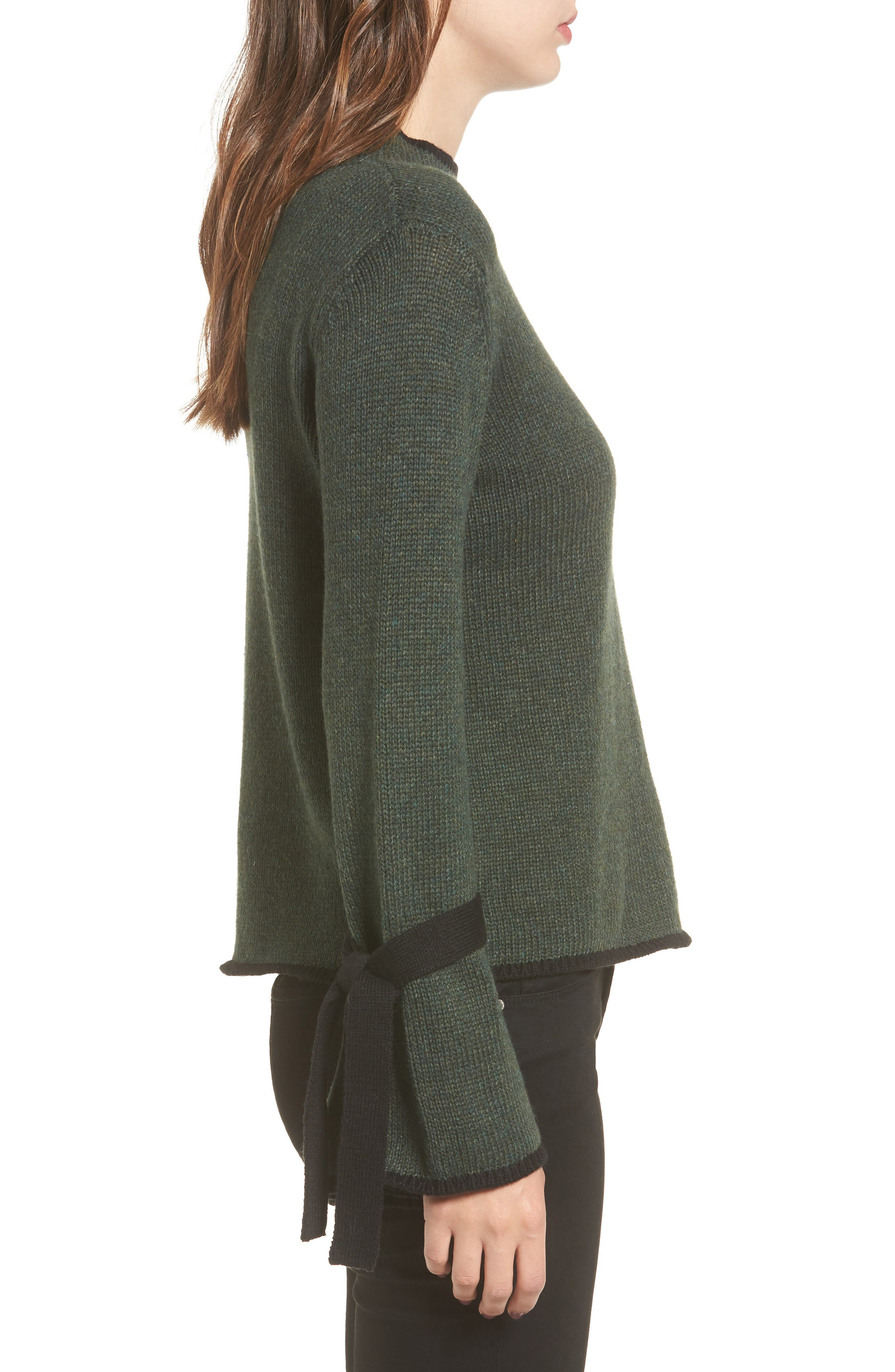 Tie Sleeve Sweater,                             Alternate thumbnail 3, color,                             Green Wood