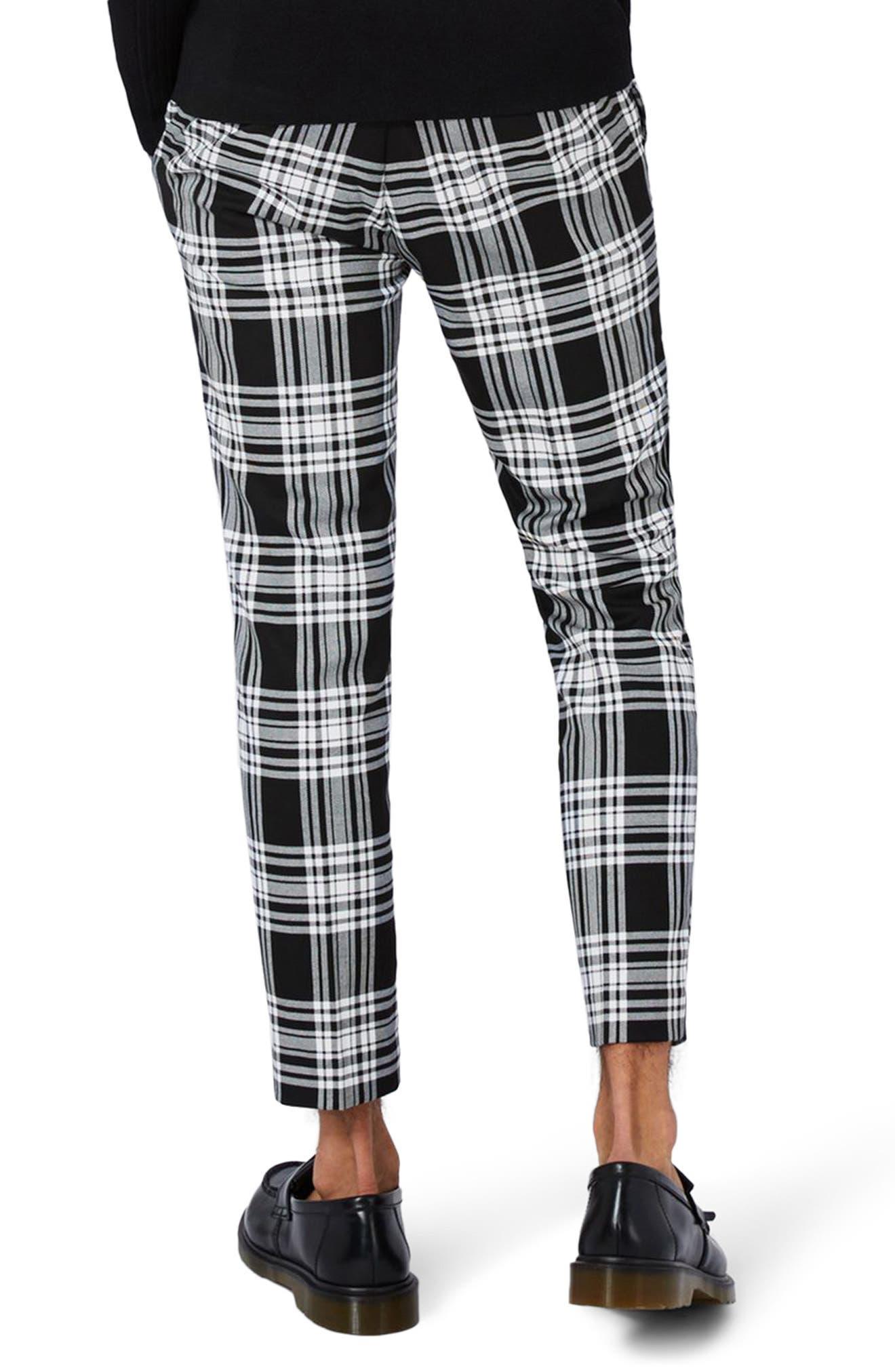 Plaid Ultra Skinny Fit Crop Trousers,                             Alternate thumbnail 3, color,                             Black Multi