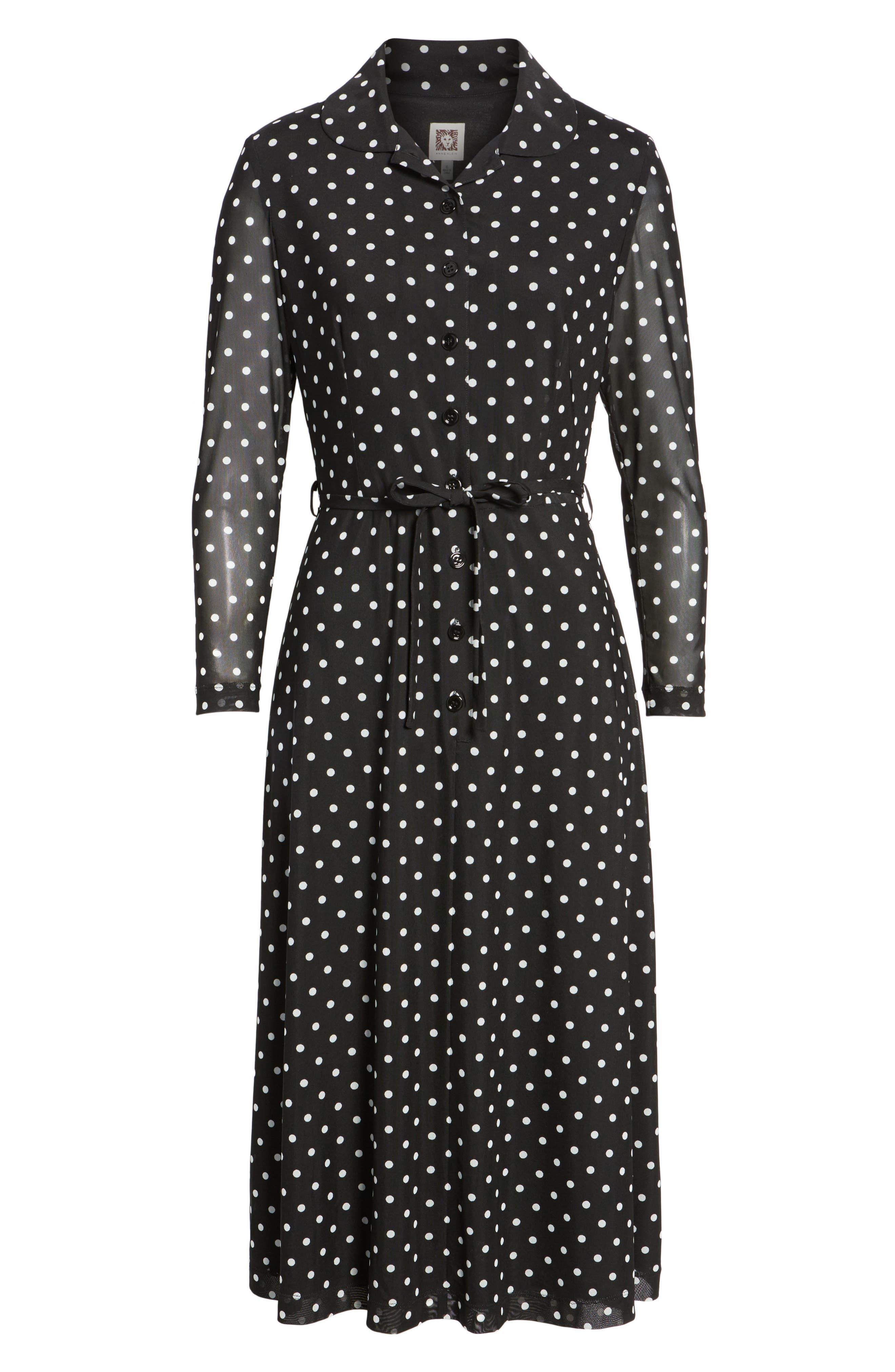 Polka Dot Shirt Dress,                             Alternate thumbnail 6, color,                             Black/ White
