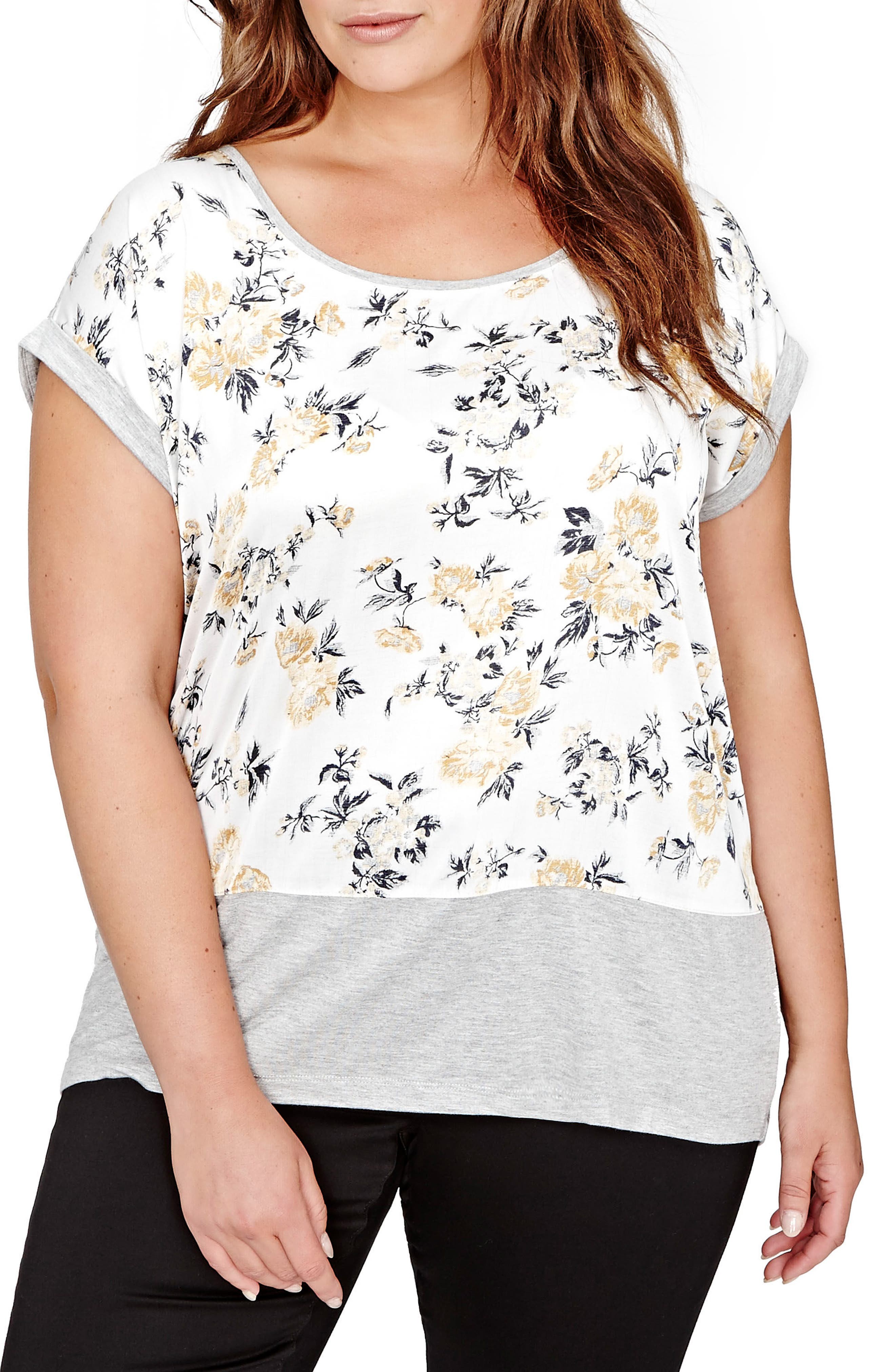 Michel Studio Floral Mixed Media Tee (Plus Size)