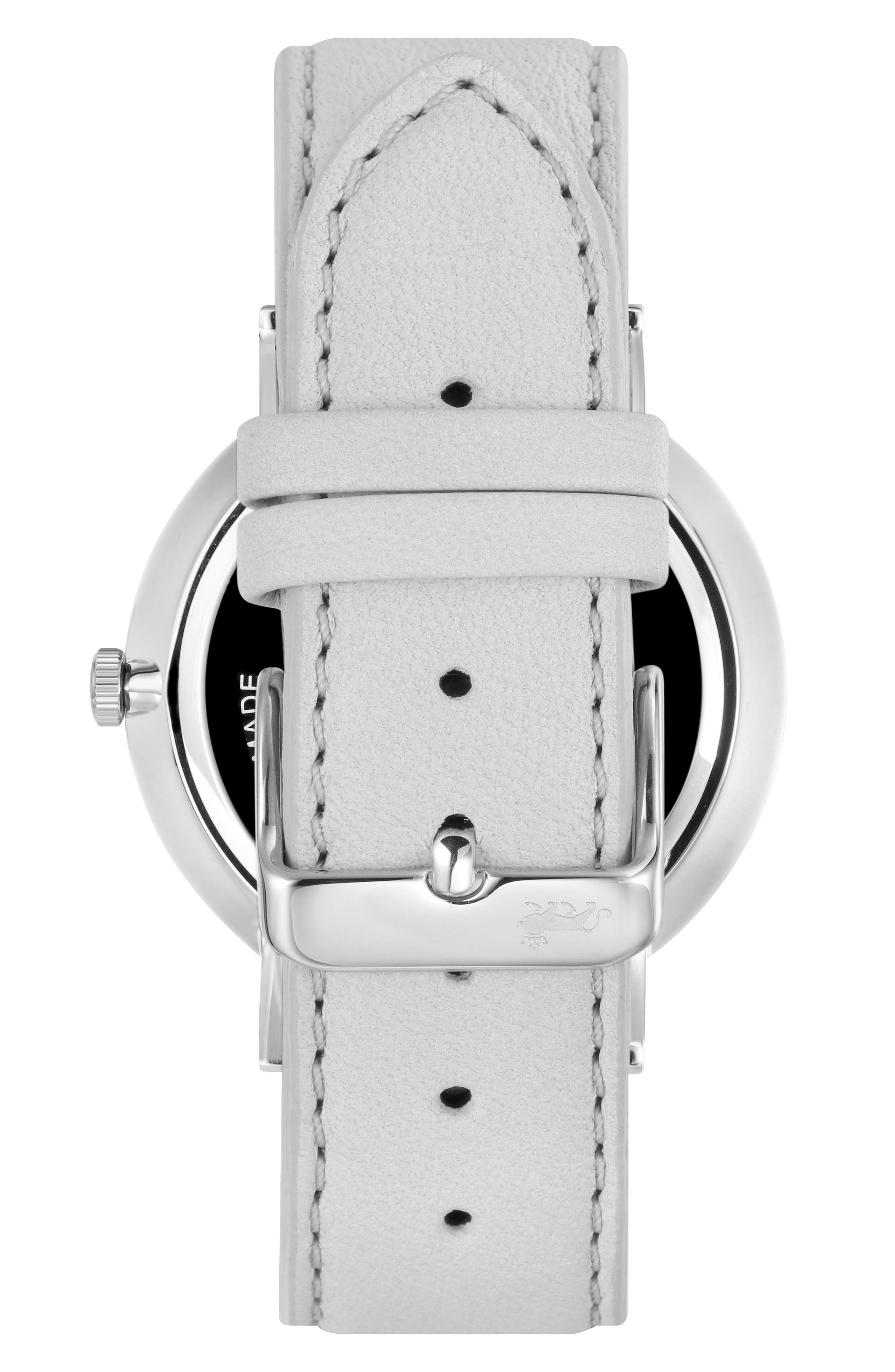 Lugano Leather Strap Watch, 38mm,                             Alternate thumbnail 2, color,                             Grey/ Silver