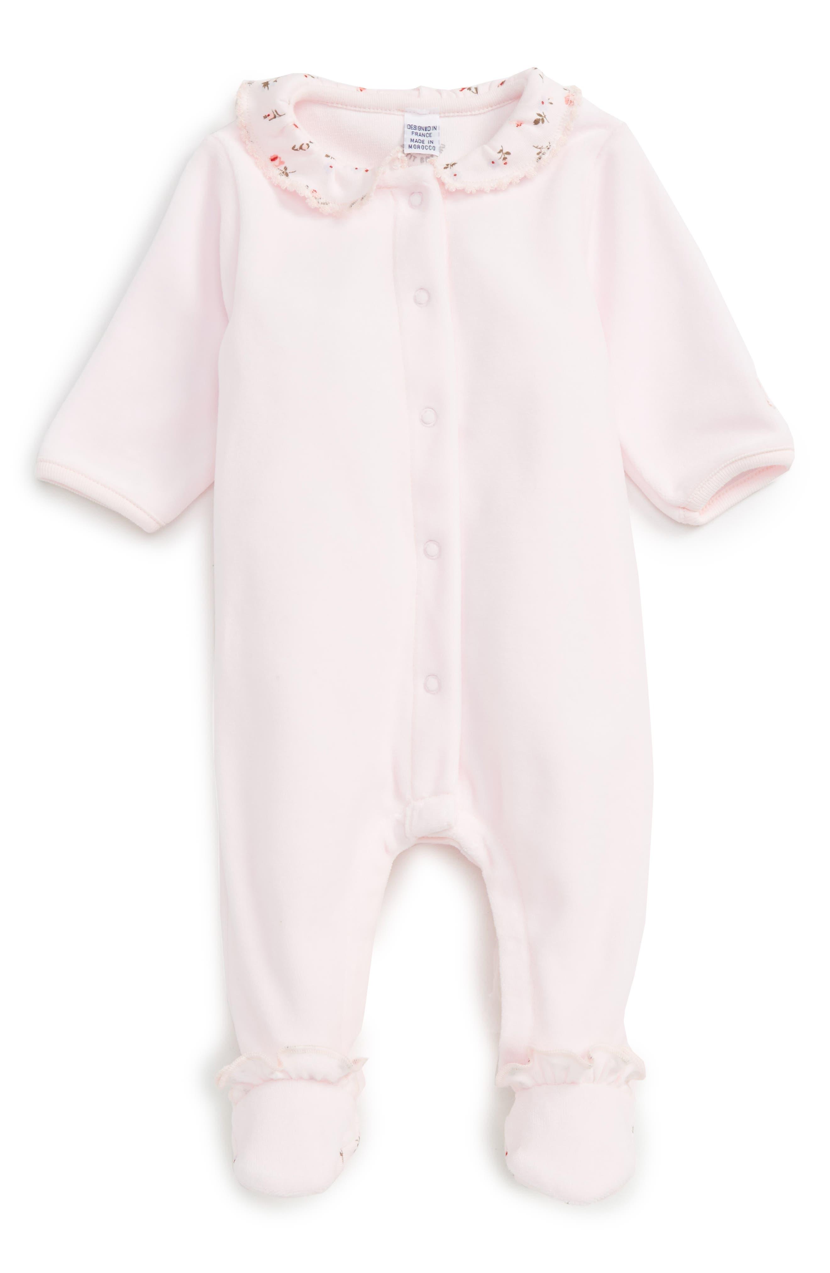 Velour Footie,                         Main,                         color, Light Pink