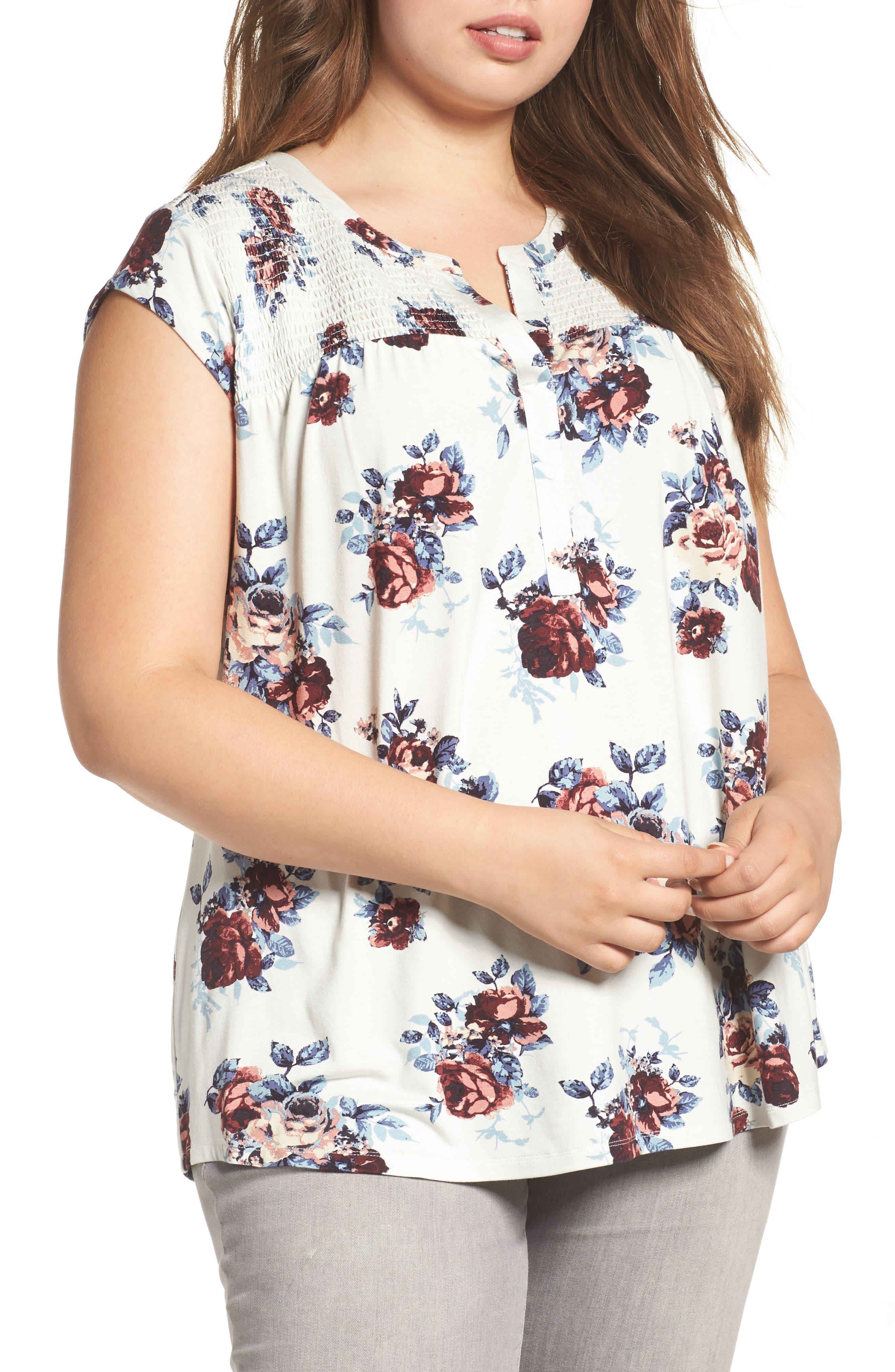 Daniel Rainn Split Neck Floral Print Top (Plus Size)