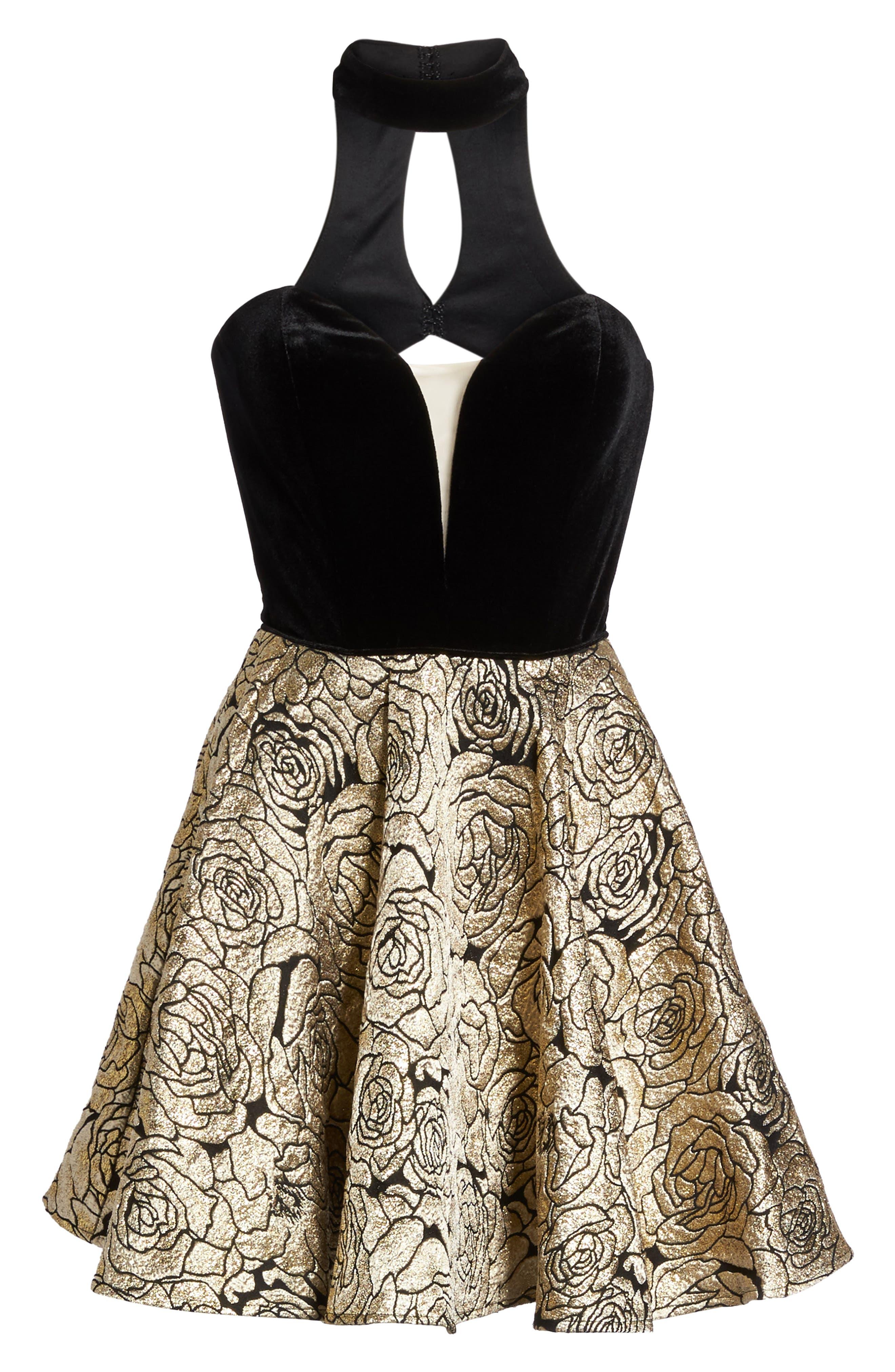 Choker Illusion Skater Dress,                             Alternate thumbnail 6, color,                             Black/ Gold