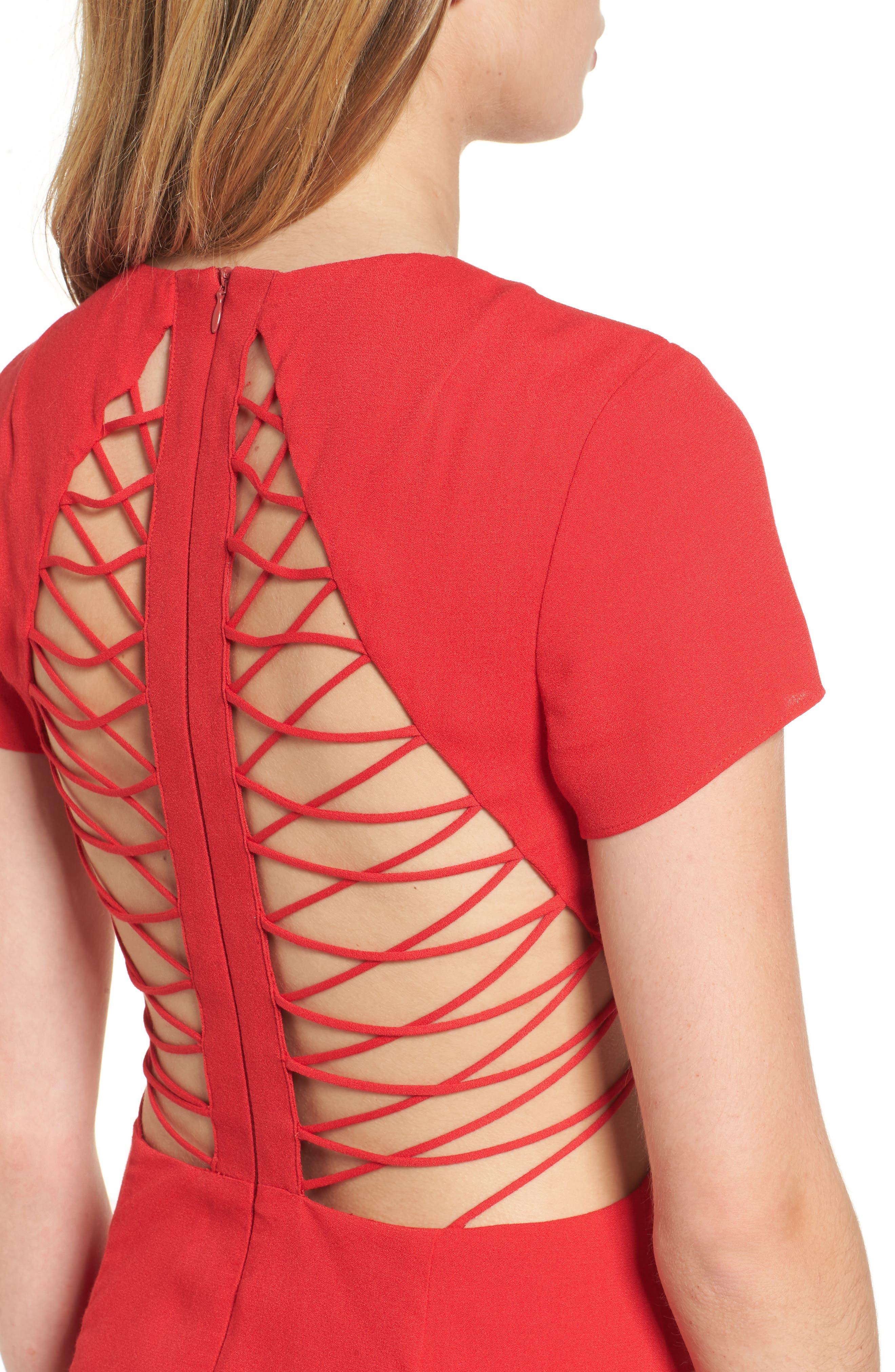 Chelsea Lattice Back Fit & Flare Dress,                             Alternate thumbnail 4, color,                             Red