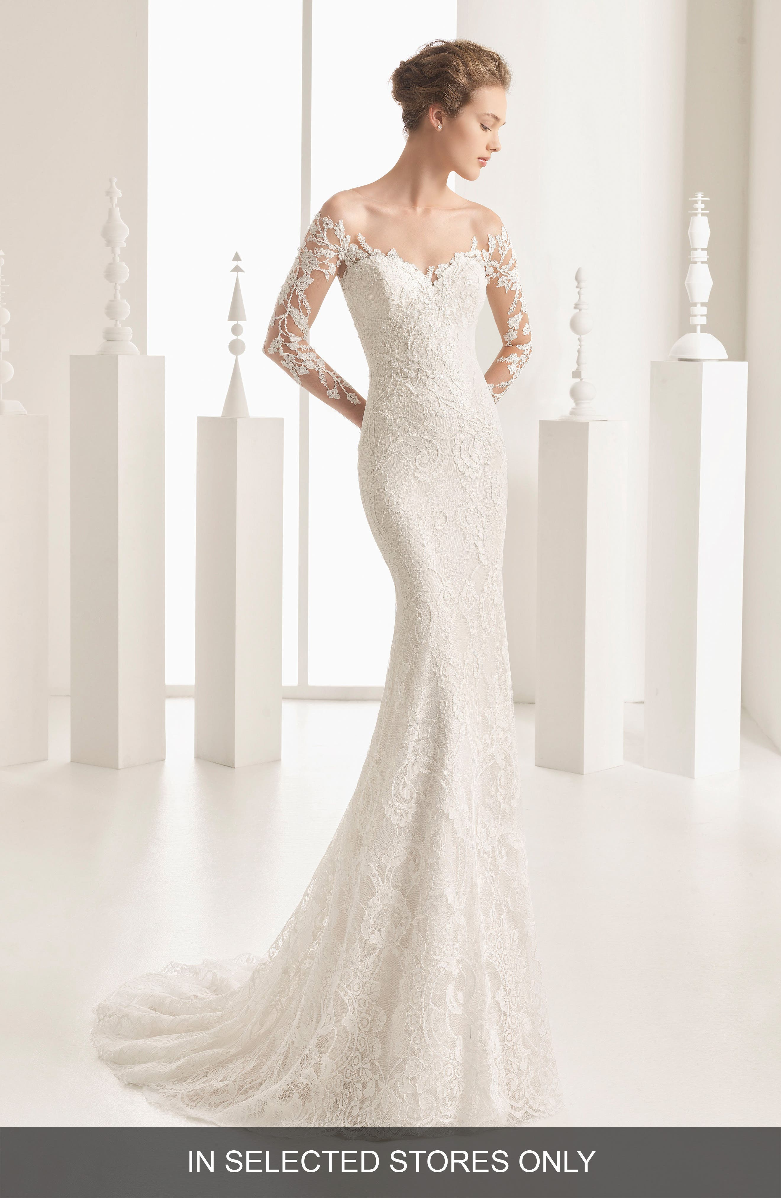Naim Strapless Illusion Lace Mermaid Gown,                         Main,                         color, Ivory
