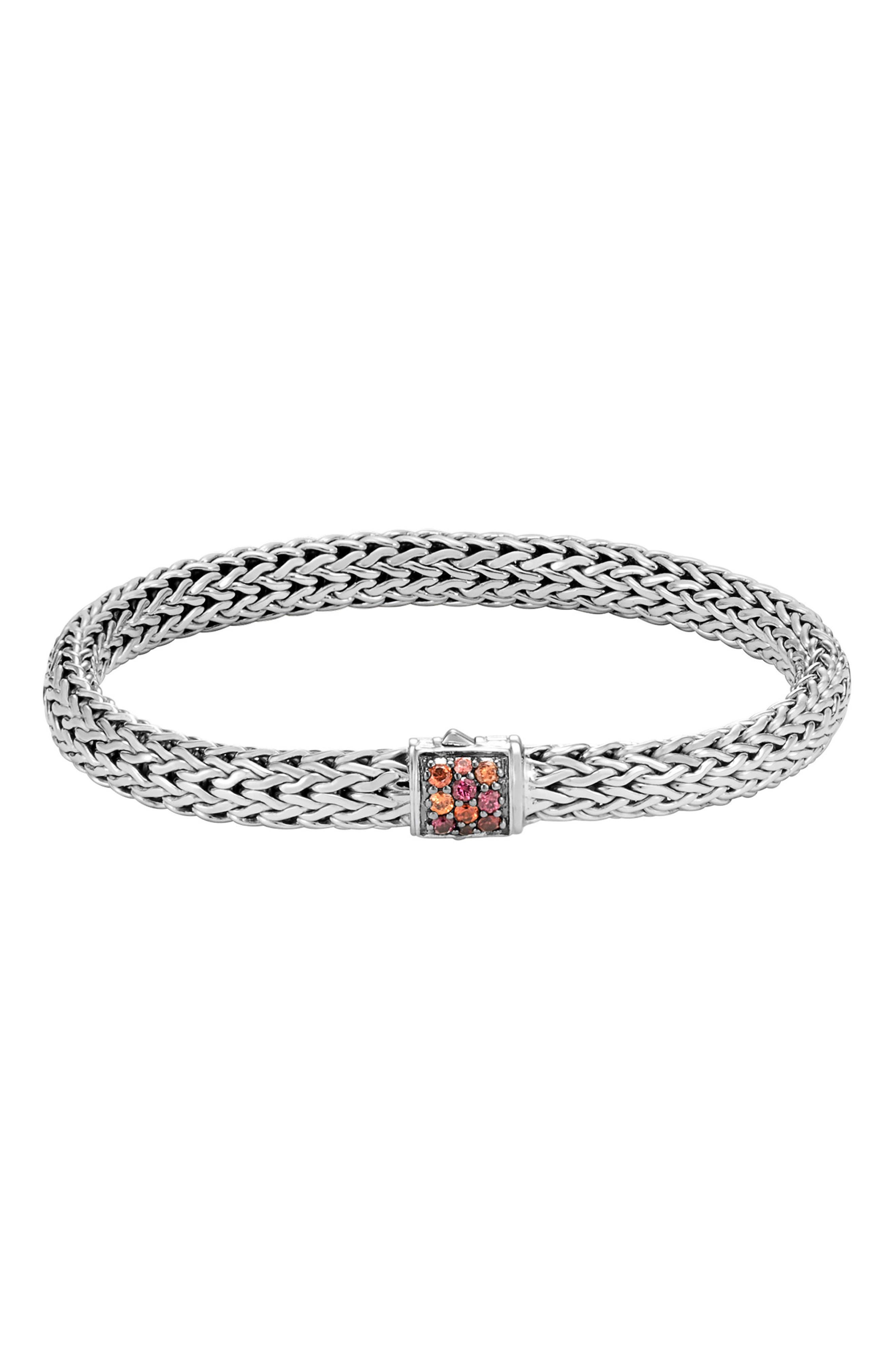 Classic Chain Small Bracelet,                             Main thumbnail 1, color,                             Silver/ Garnet