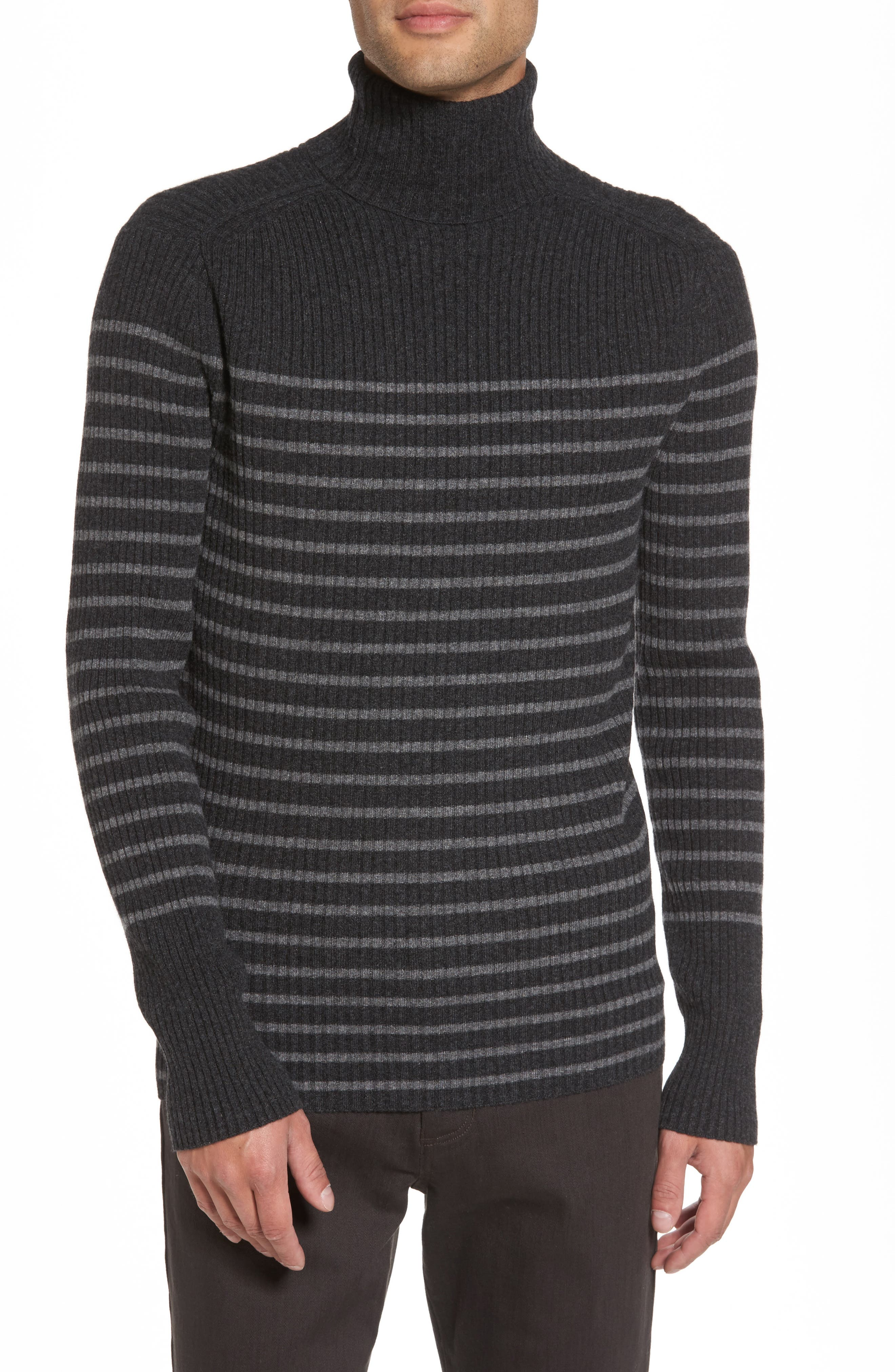 Vince Regular Fit Breton Stripe Cashmere Turtleneck Sweater