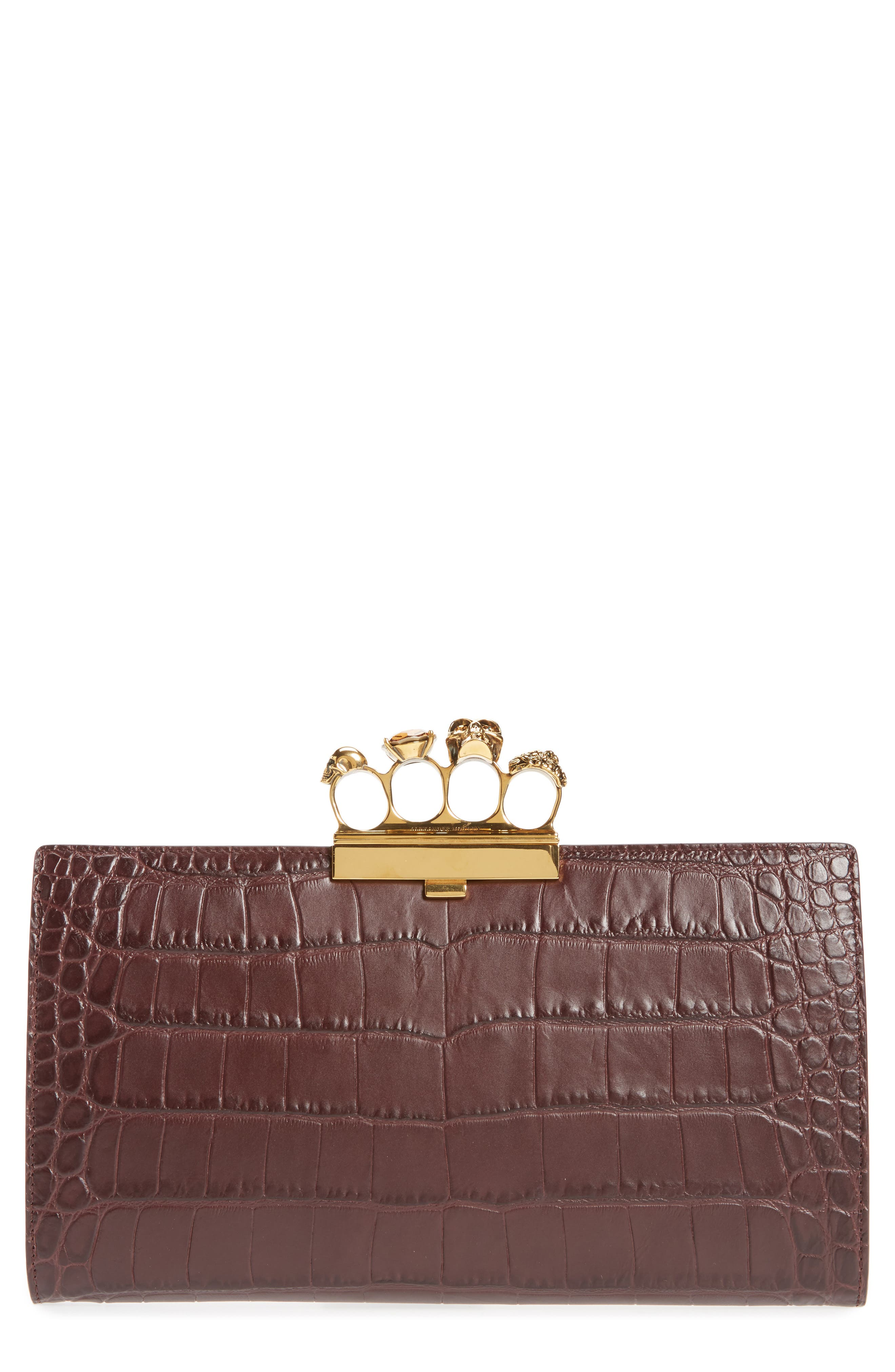 Croc Embossed Leather Knuckle Clutch,                         Main,                         color, Burgundy