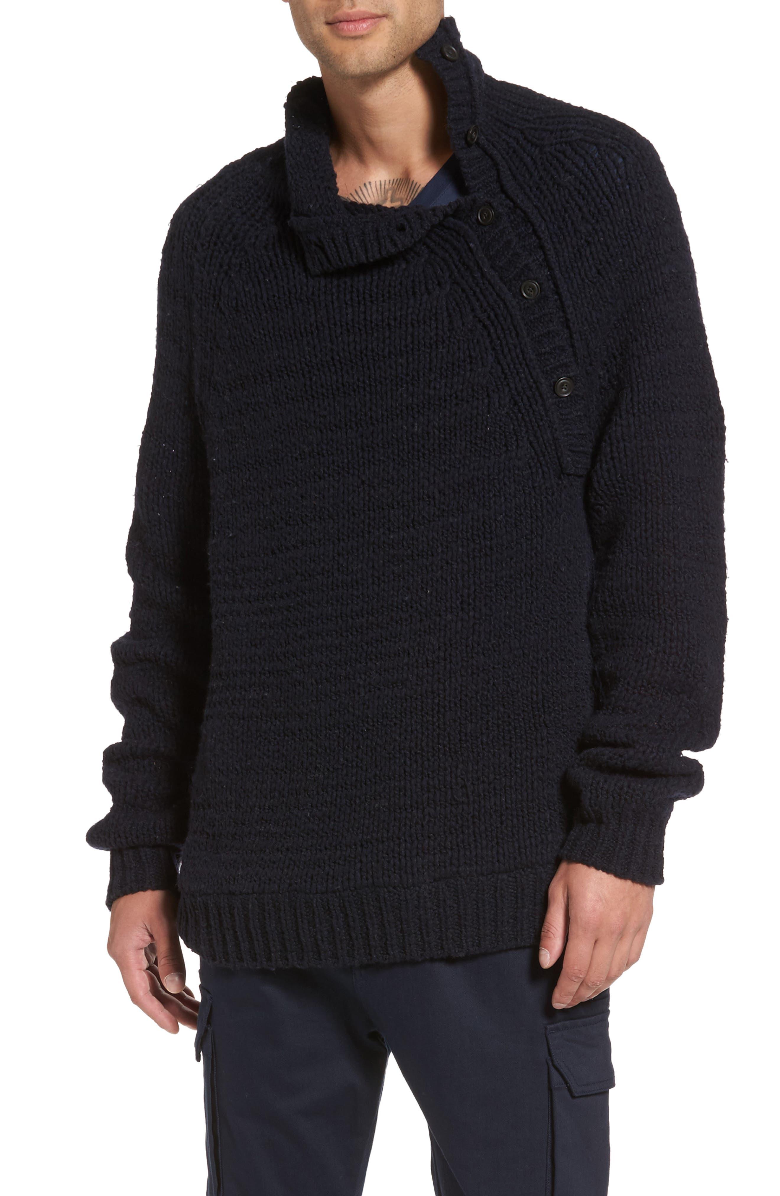 Side Button Mock Neck Sweater,                         Main,                         color, Coastal
