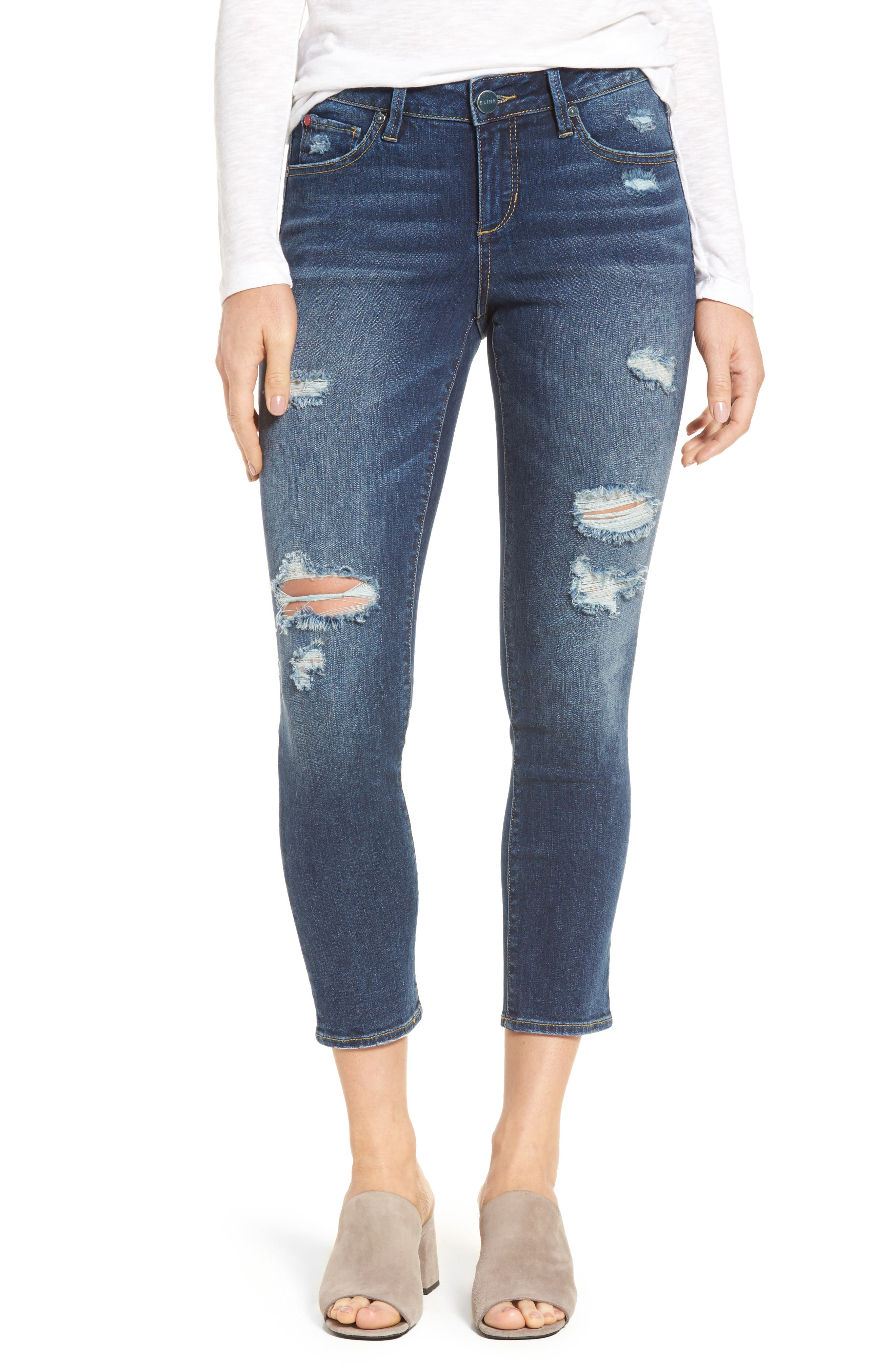 Distressed Ankle Skinny Jeans,                         Main,                         color, Lysa