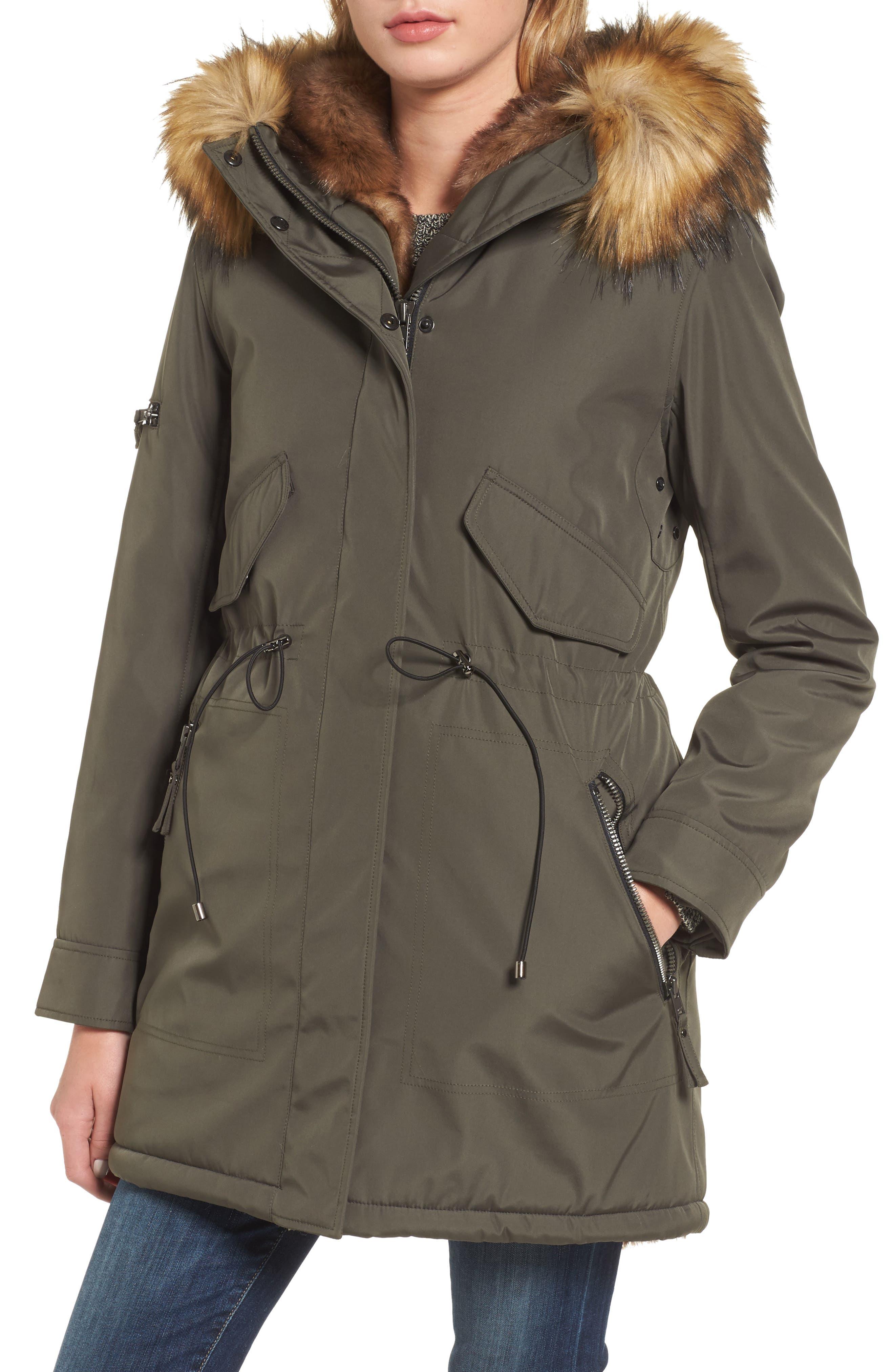 Alternate Image 1 Selected - S13 Faux Fur Hooded Anorak