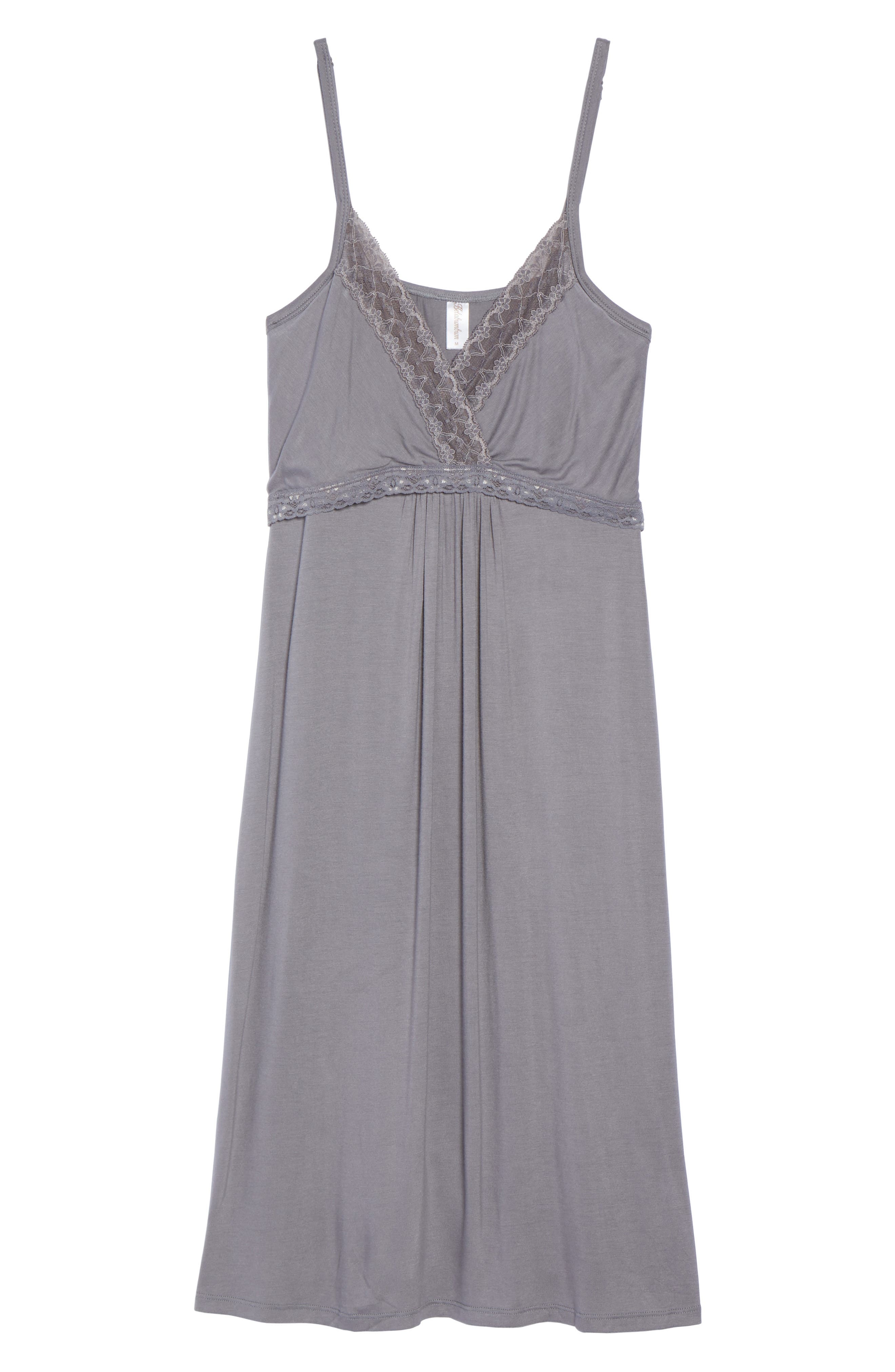 Maternity/Nursing Jersey Chemise,                             Alternate thumbnail 4, color,                             Grey