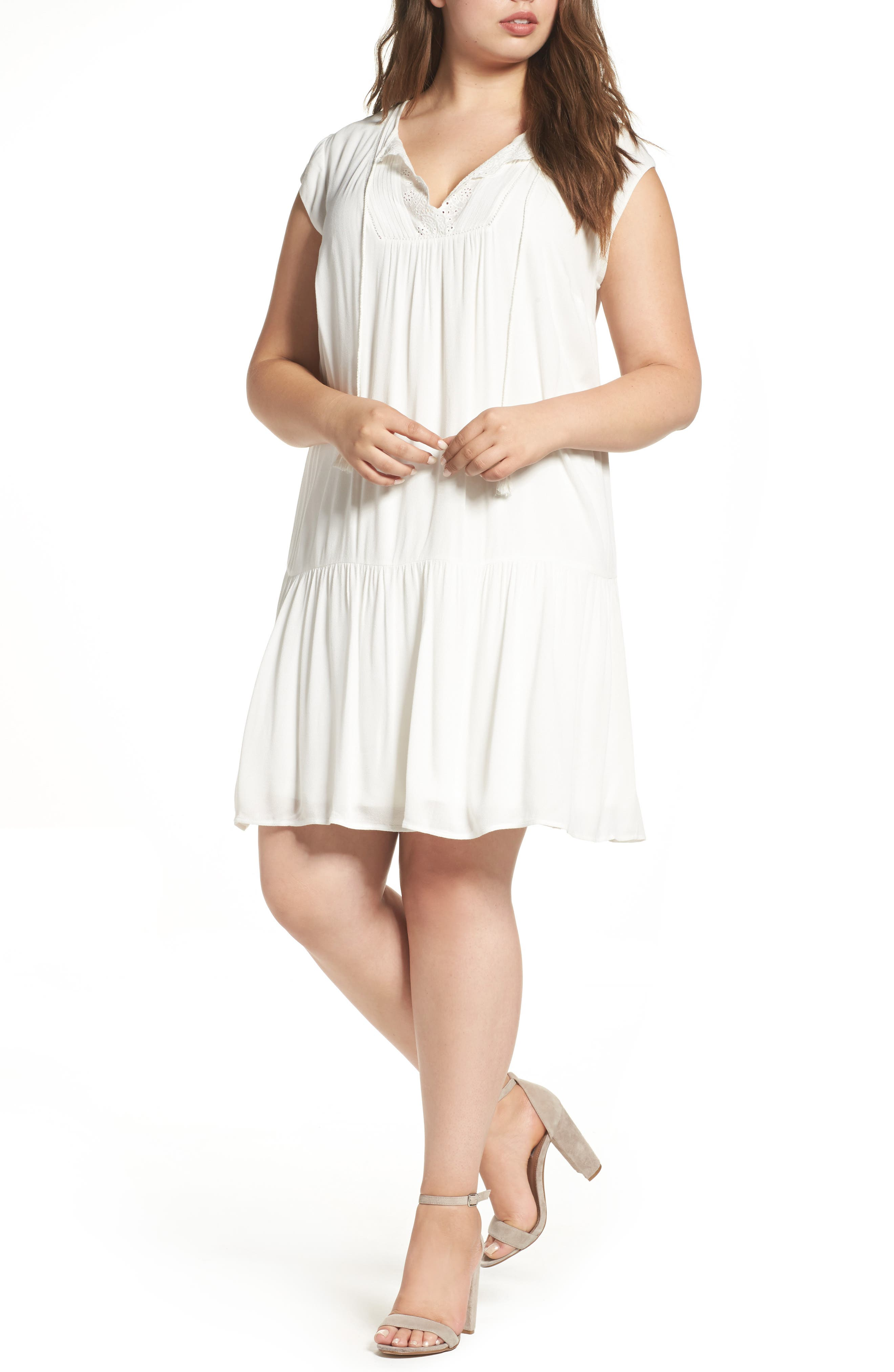Alternate Image 1 Selected - Daniel Rainn Crochet Trim Dress (Plus Size)