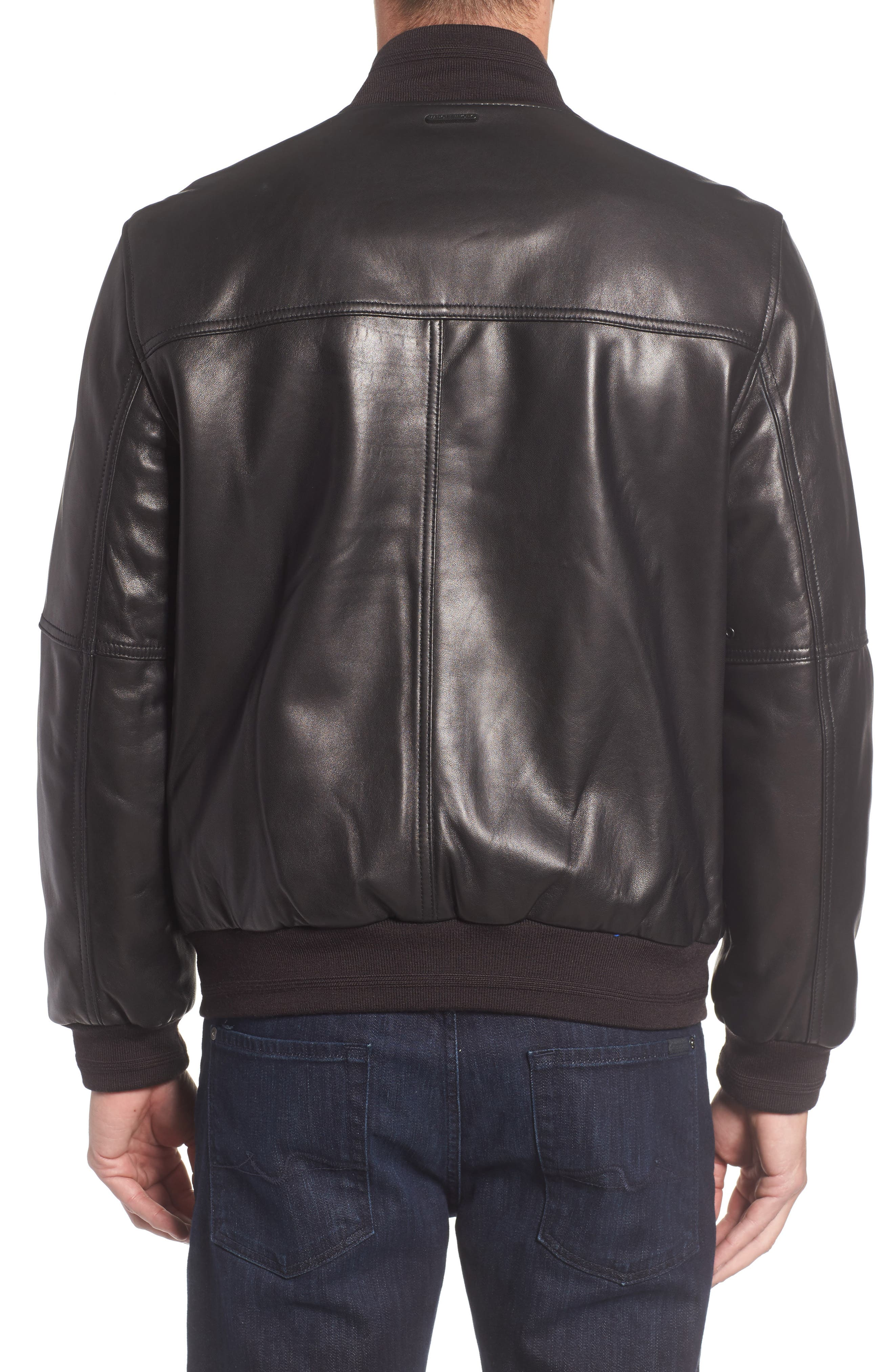 Summit Leather Bomber Jacket,                             Alternate thumbnail 2, color,                             Black