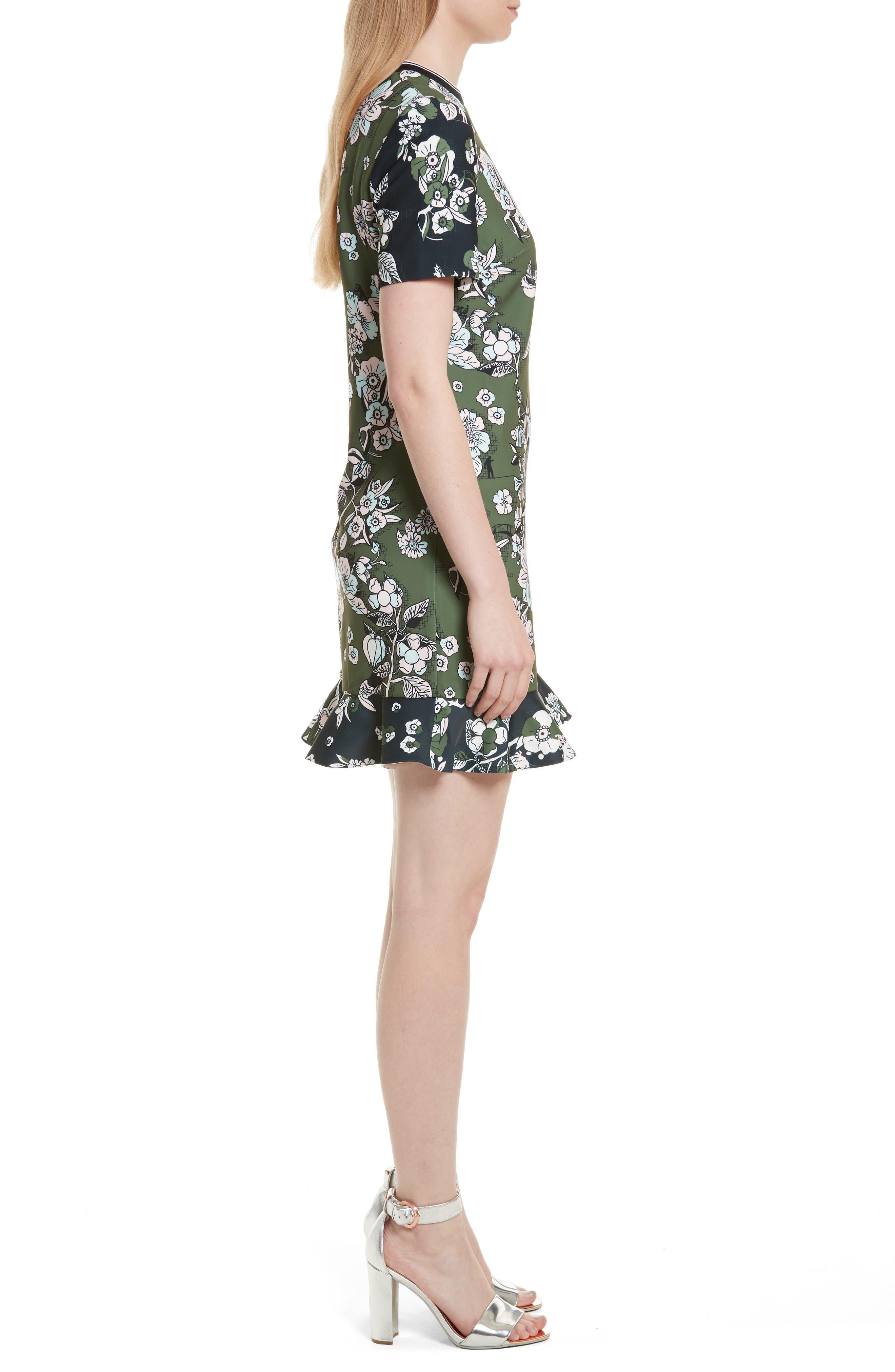 Hoster Floral Print Ruffle Hem Dress,                             Alternate thumbnail 3, color,                             Green
