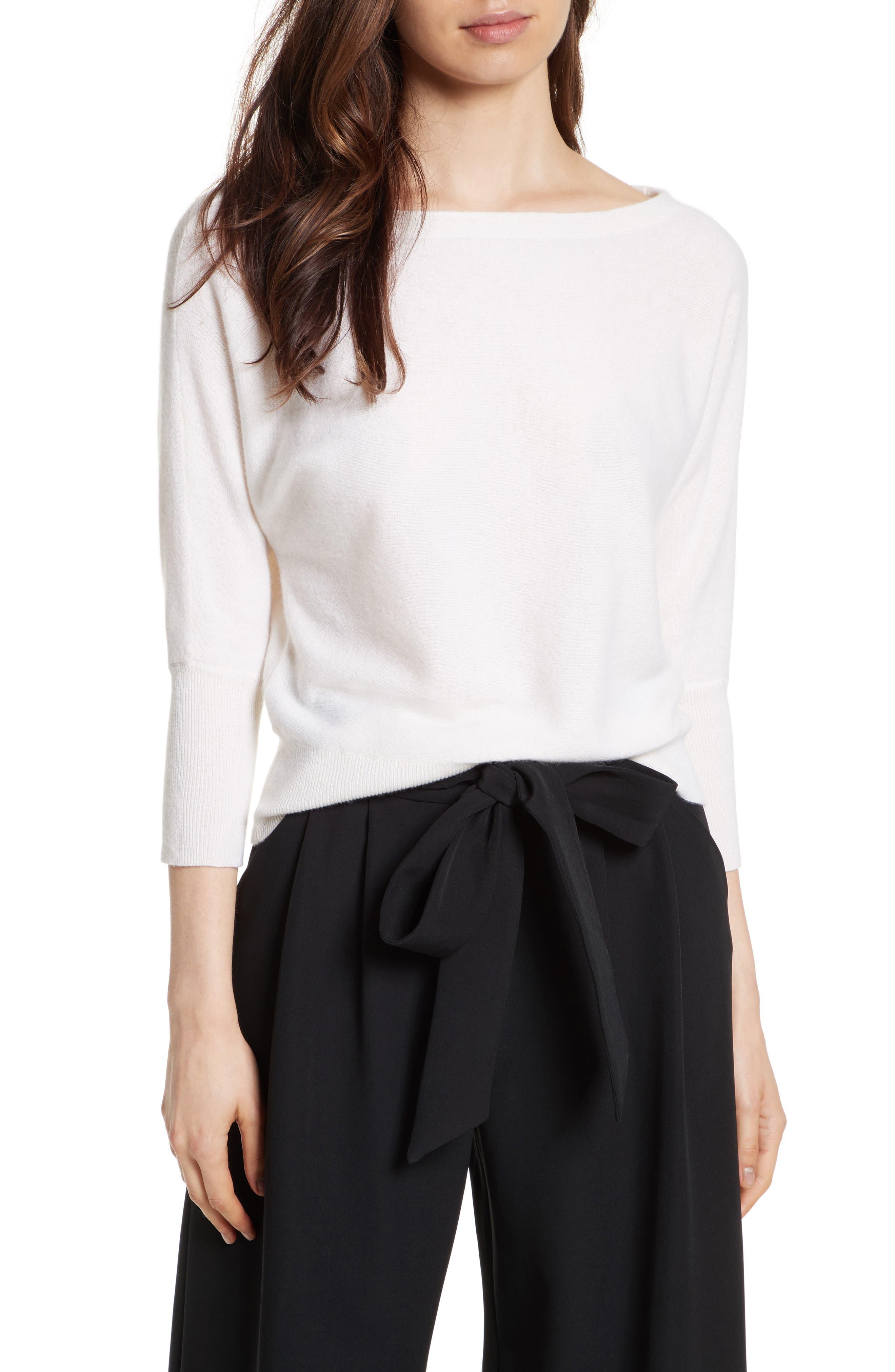 Dolman Cashmere Sweater,                         Main,                         color, White