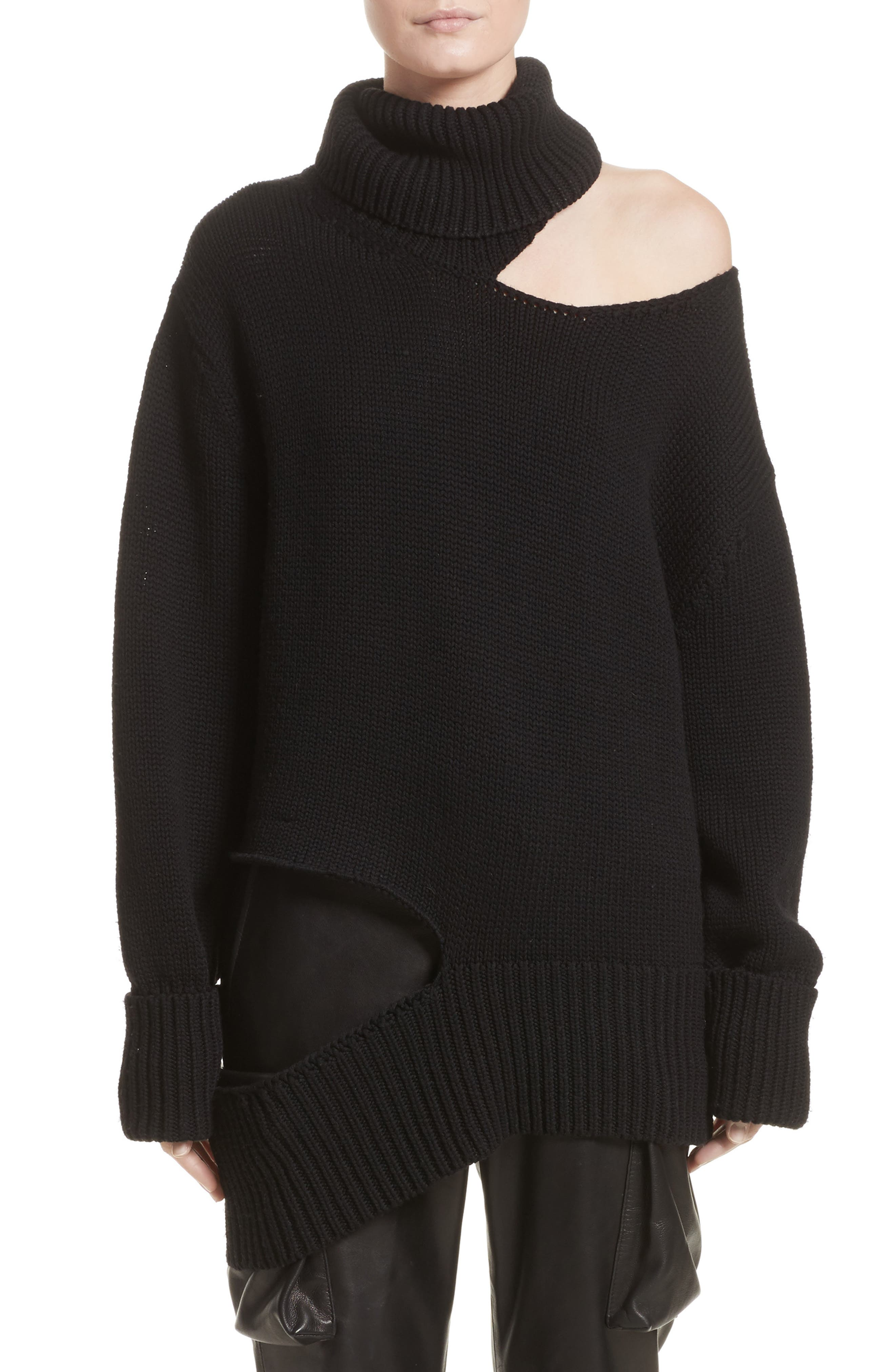 Asymmetrical Cutout Turtleneck Sweater,                         Main,                         color, Black