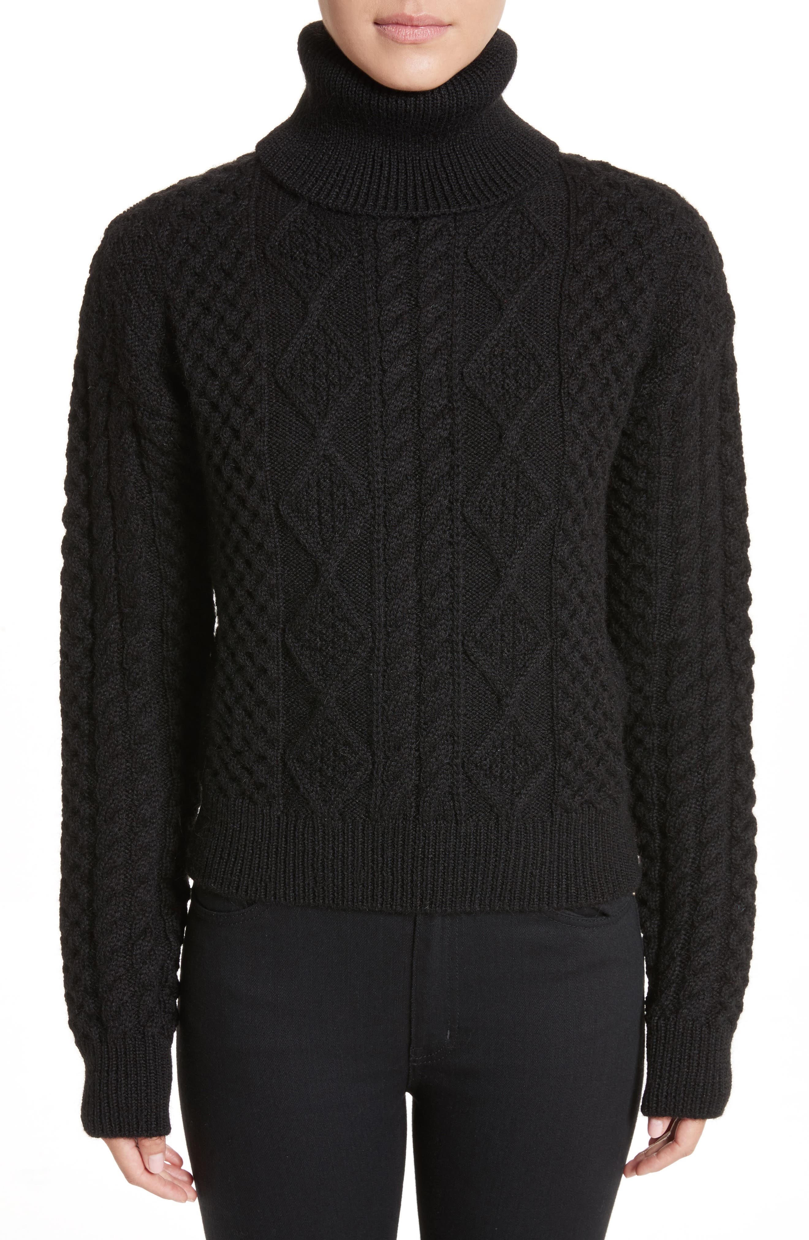 Cable Knit Wool Turtleneck Sweater,                             Main thumbnail 1, color,                             Black