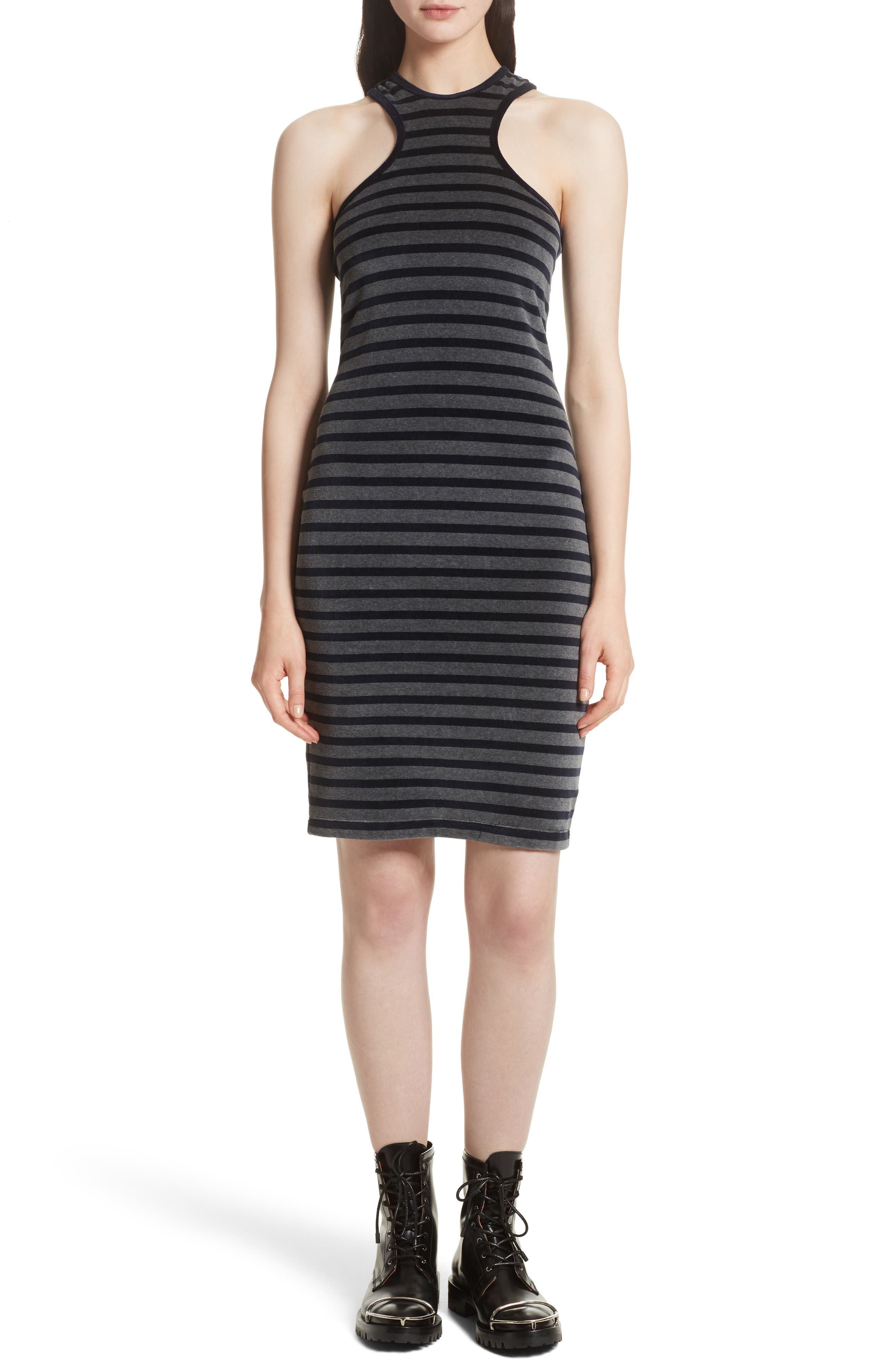Stripe Velour Racerback Dress,                         Main,                         color, Charcoal With Navy Stripe
