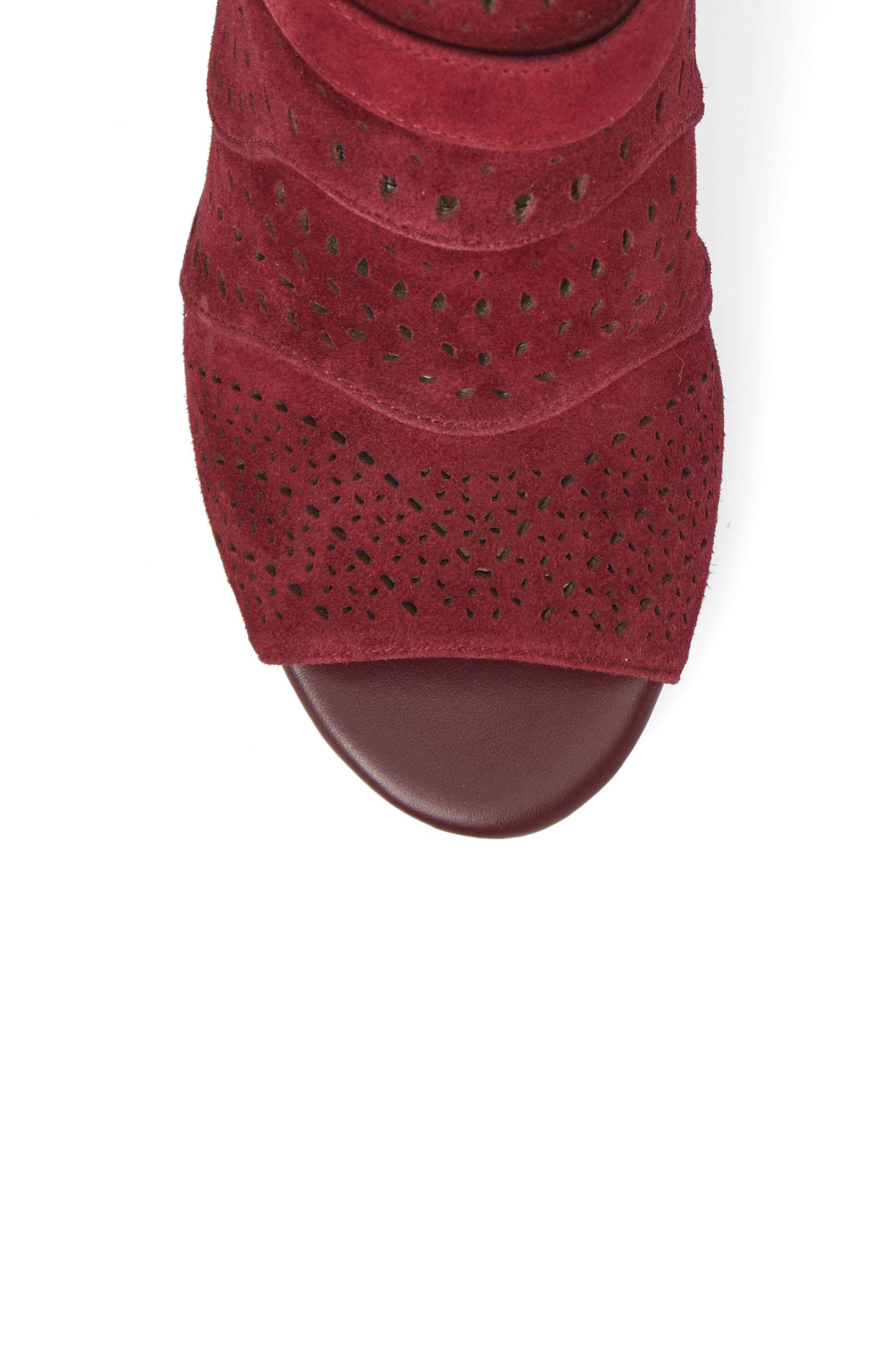 Fonda Perforated Sandal,                             Alternate thumbnail 5, color,                             Burgundy Suede