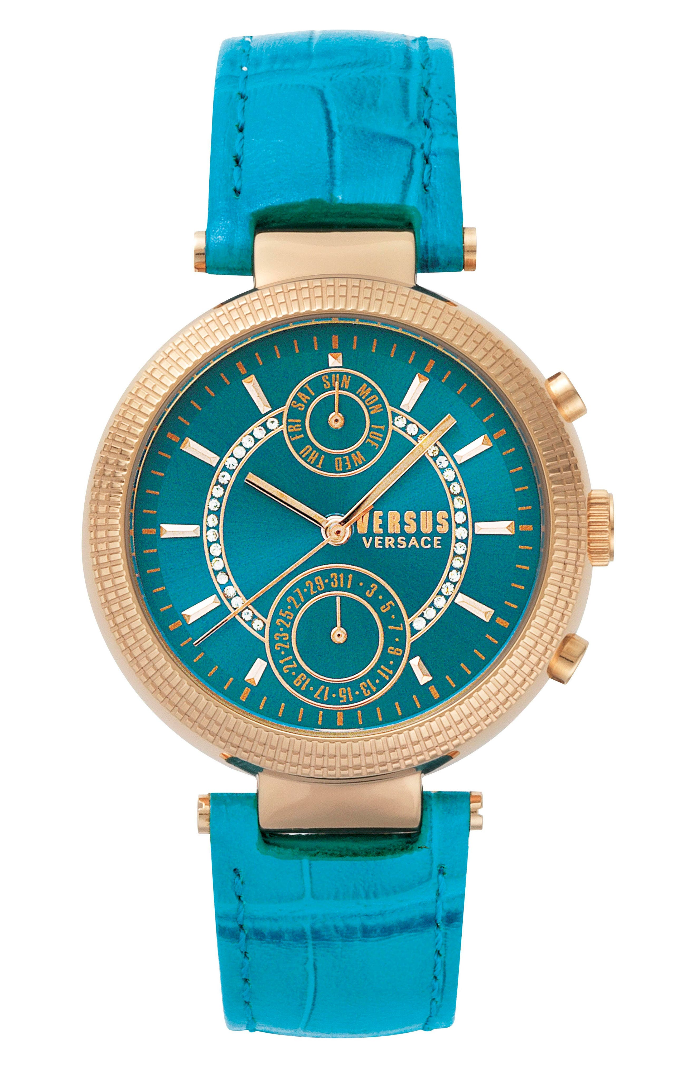 Versus by Versace Star Ferry Chronograph Leather Strap Watch, 38mm