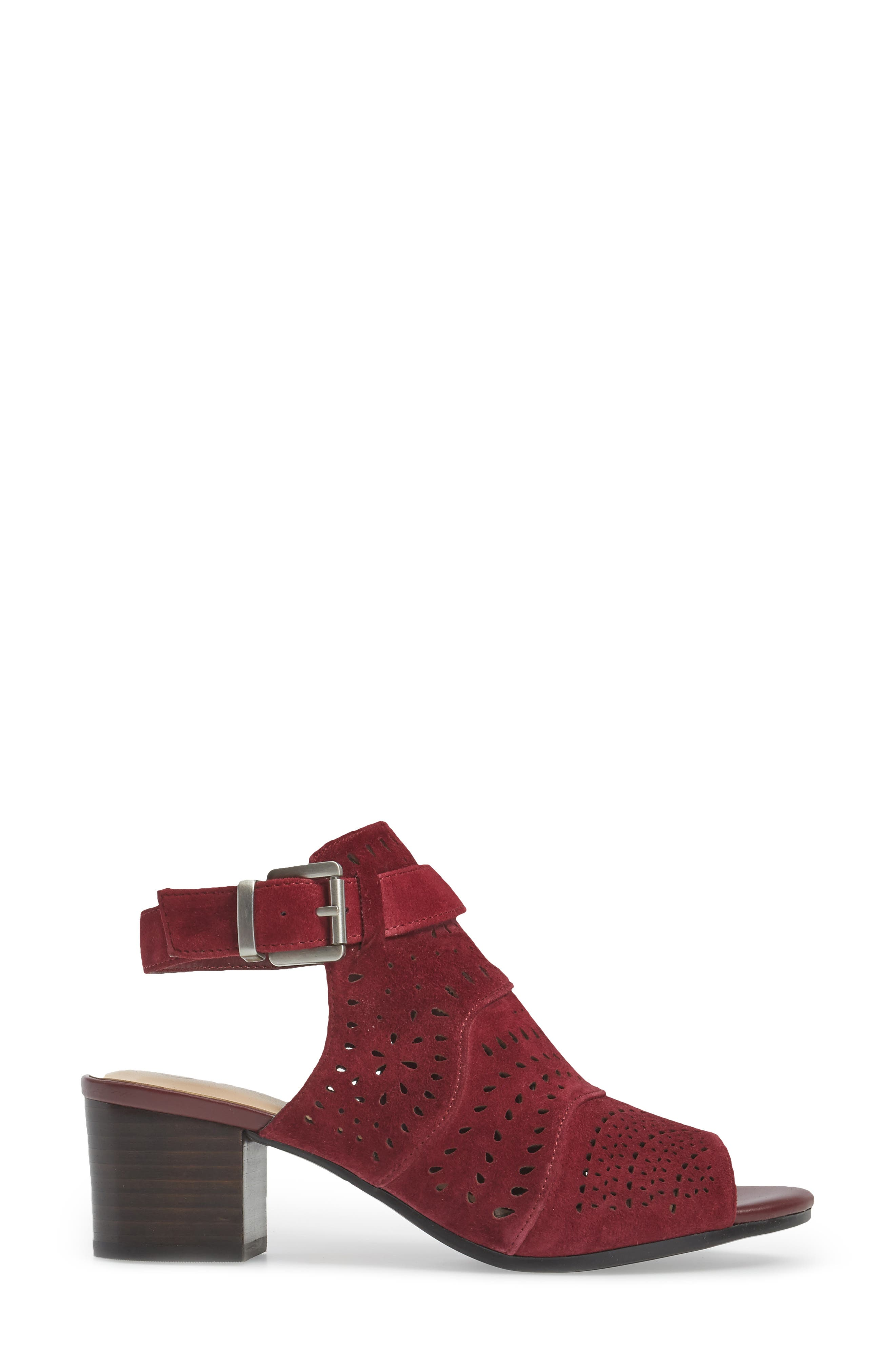 Fonda Perforated Sandal,                             Alternate thumbnail 3, color,                             Burgundy Suede
