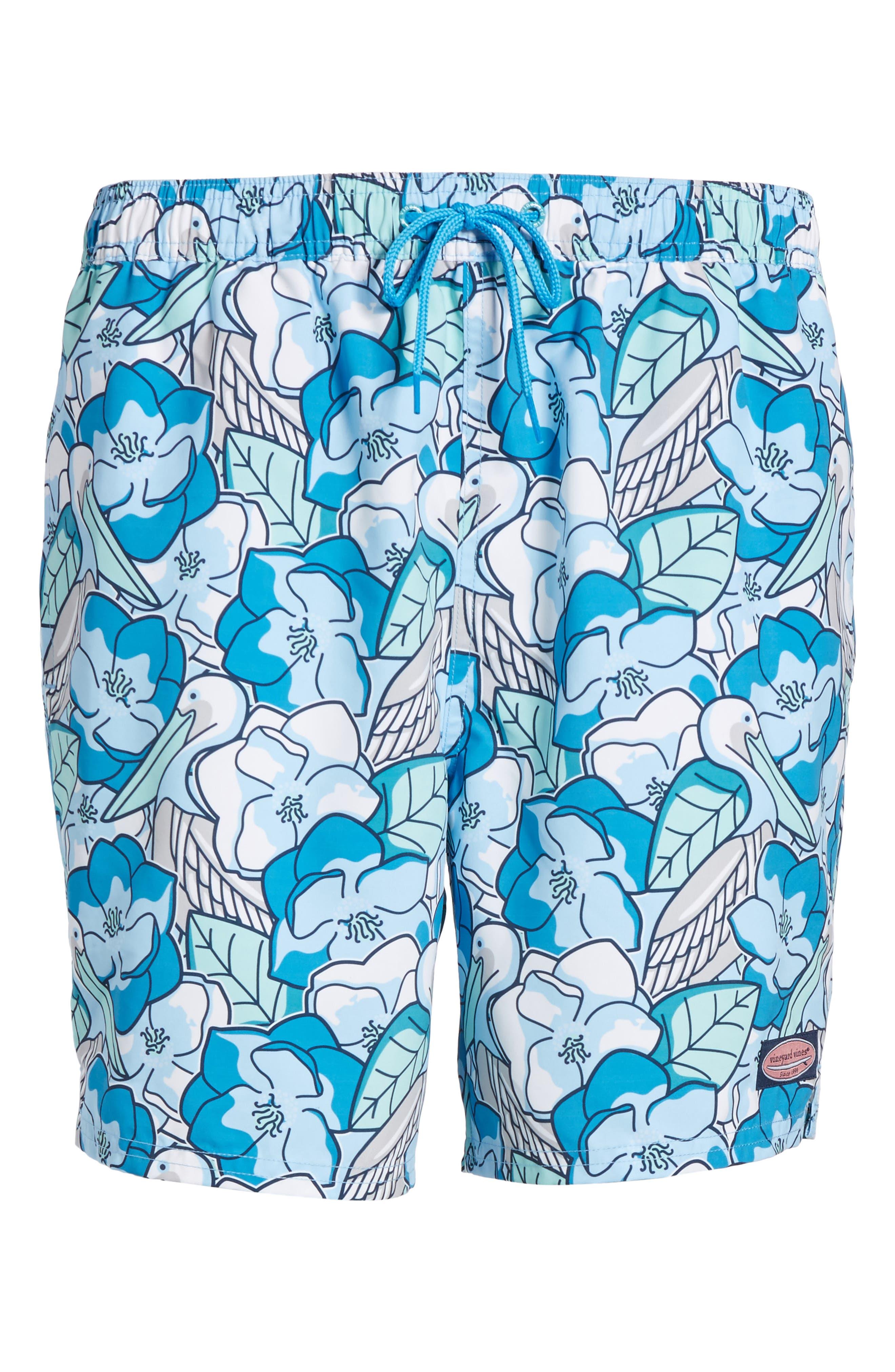 Pelican Magnolias Chappy Swim Trunks,                             Alternate thumbnail 6, color,                             Airy Blue