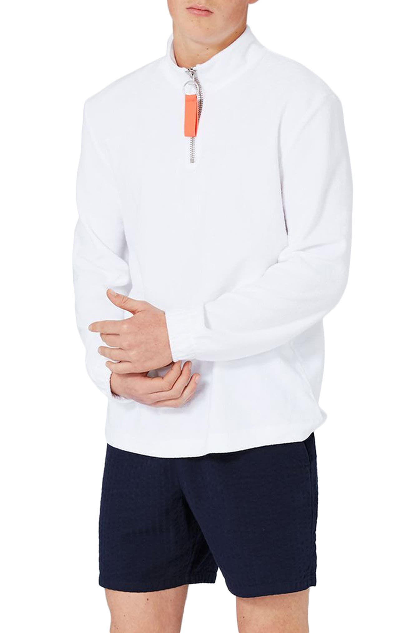 Topman Terry Quarter Zip Track Top