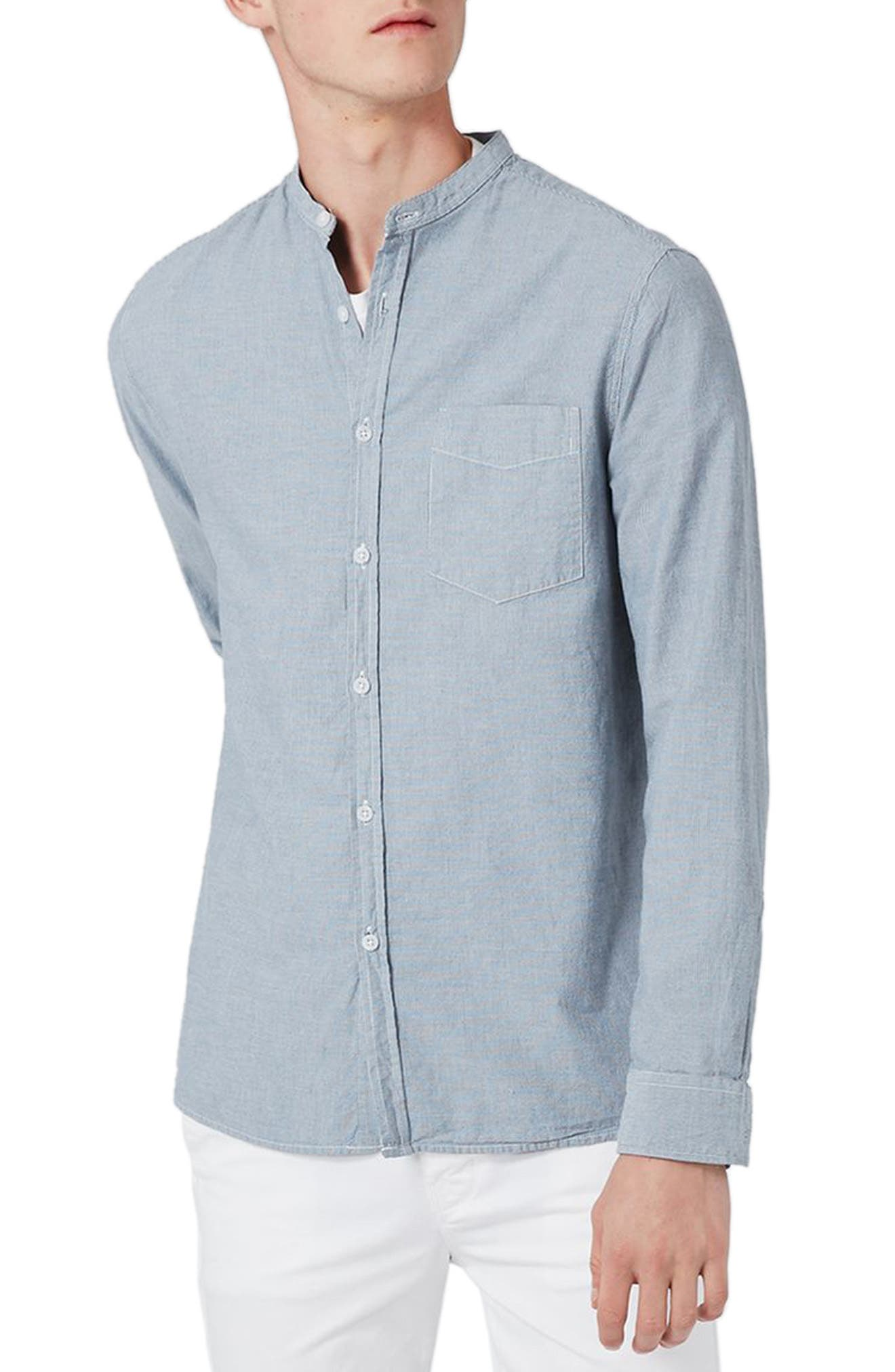 Topman Stripe Band Collar Shirt