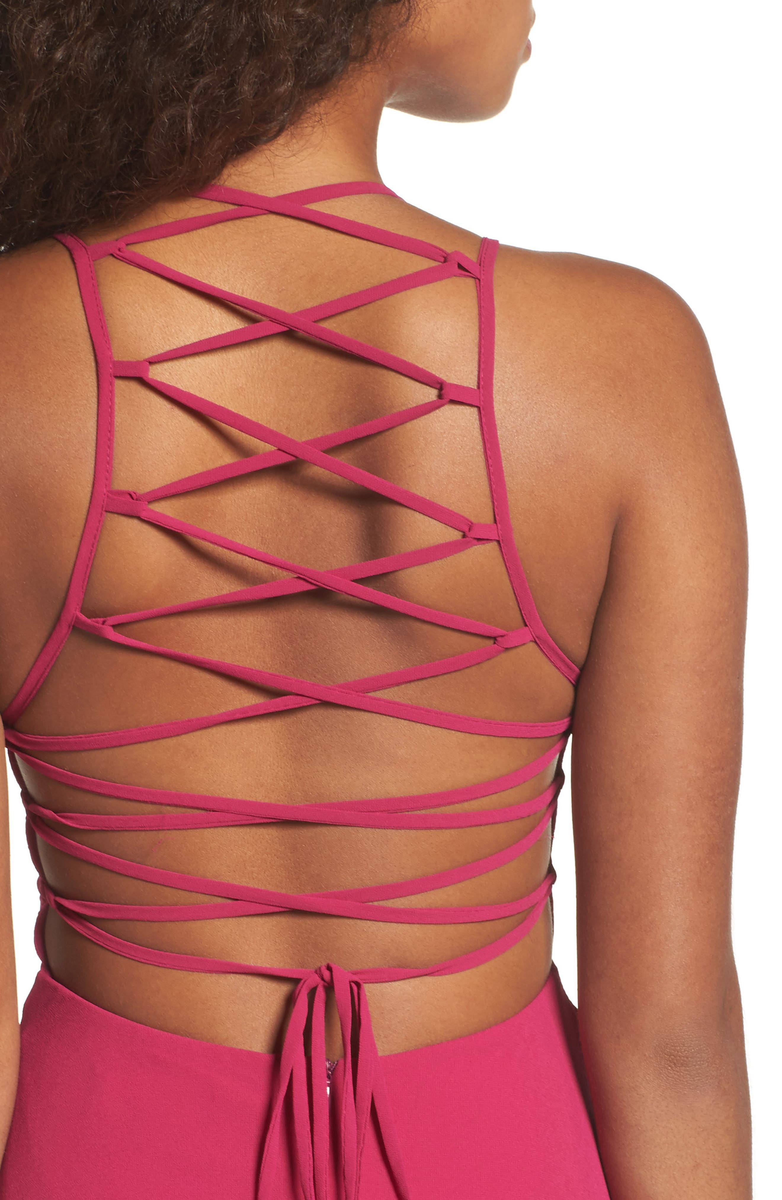 Alternate Image 4  - Lulus Strappy To Be Here Lace-Up Back Gown