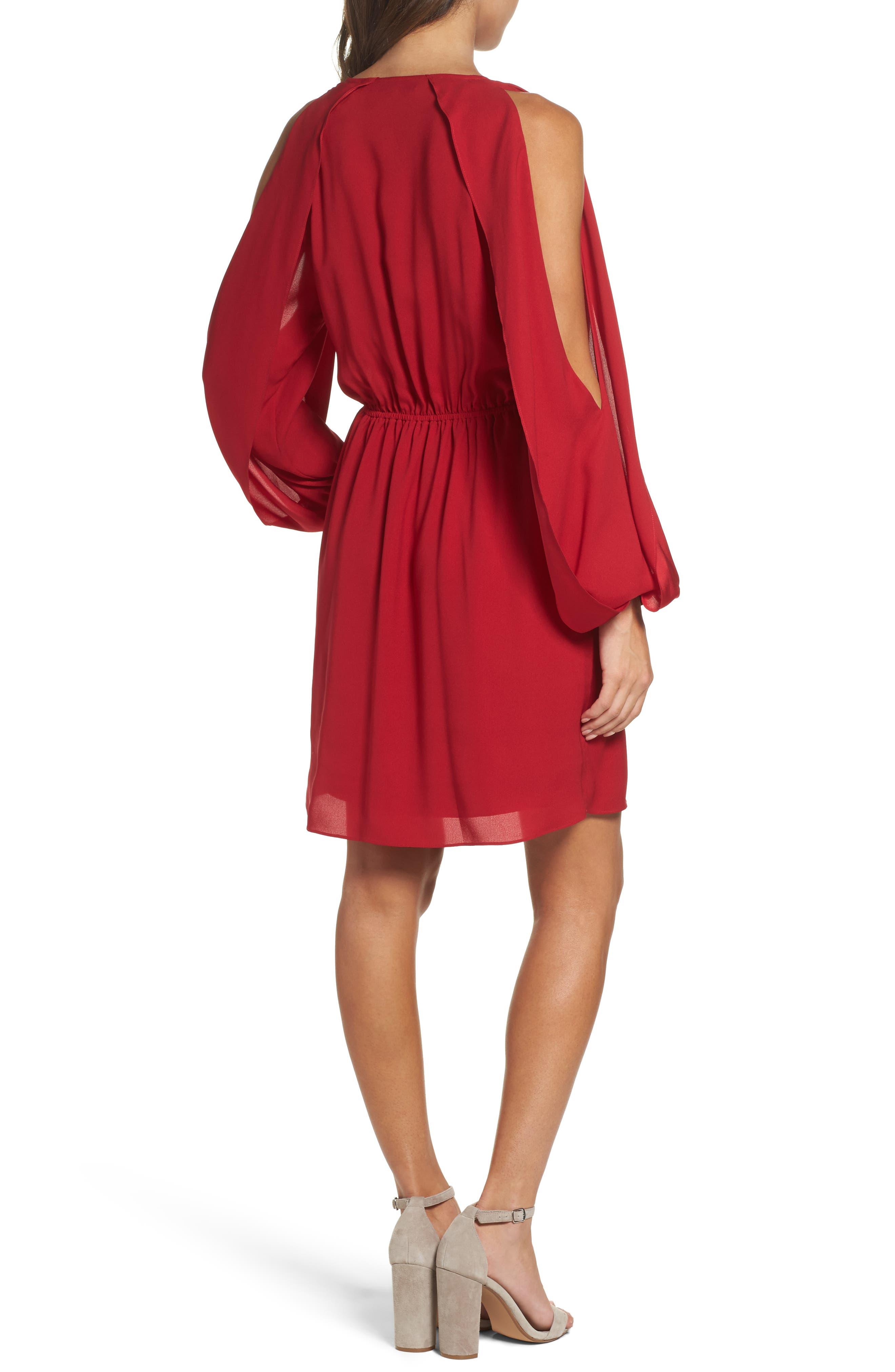 Cold Shoulder Dress,                             Alternate thumbnail 2, color,                             Cherry