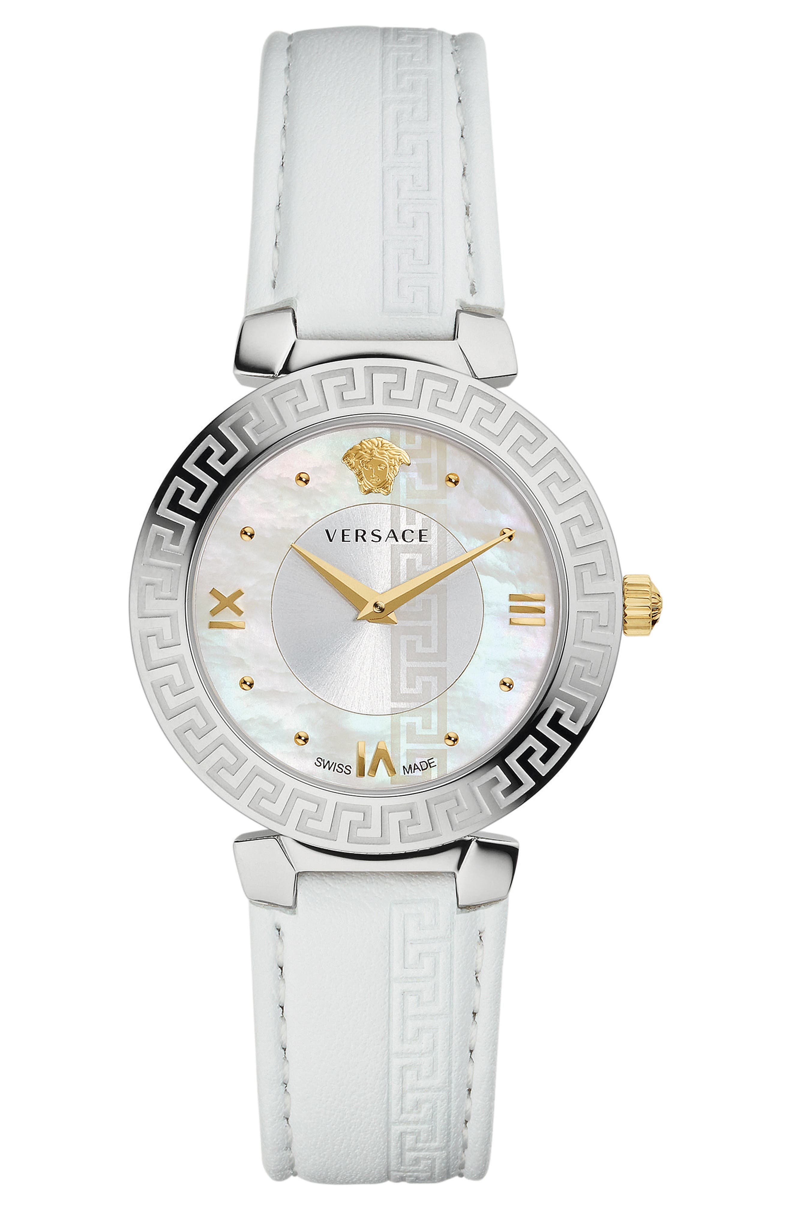Versace Daphnis Leather Strap Watch, 35mm