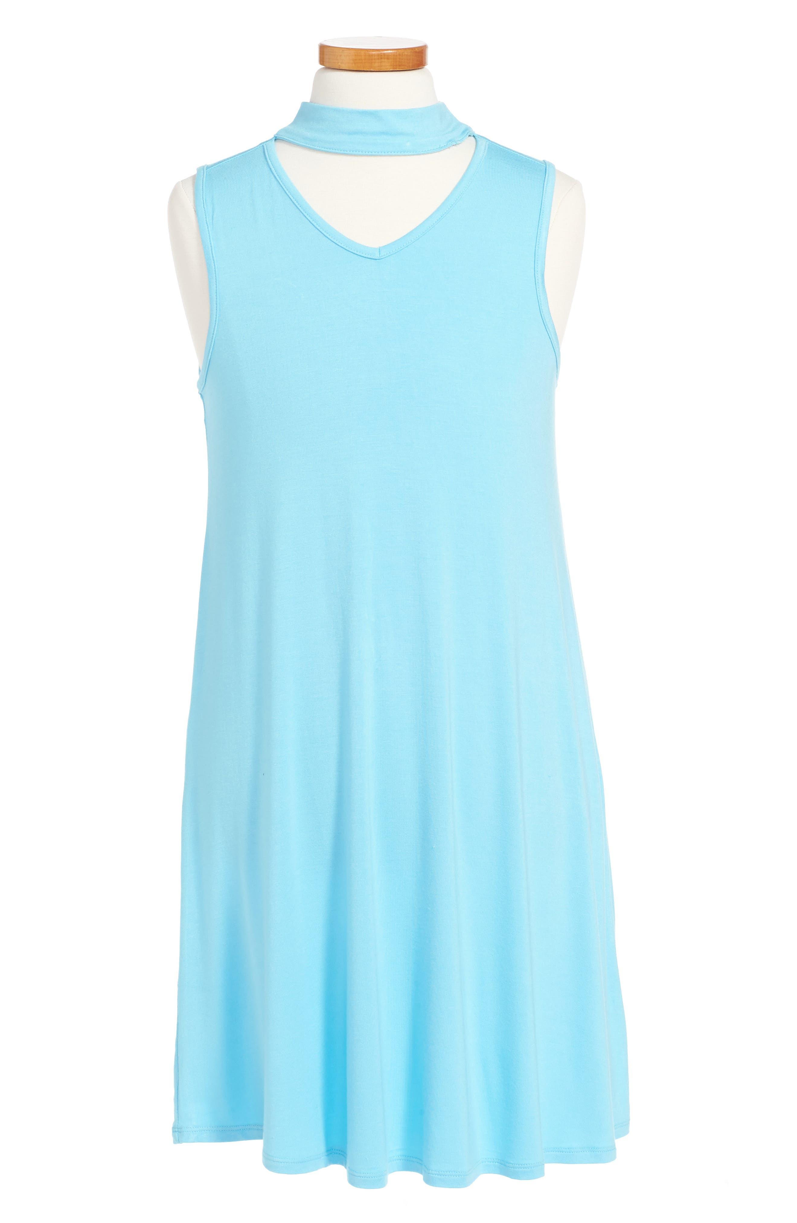 Anna Gigi Neck Dress,                         Main,                         color, Teal