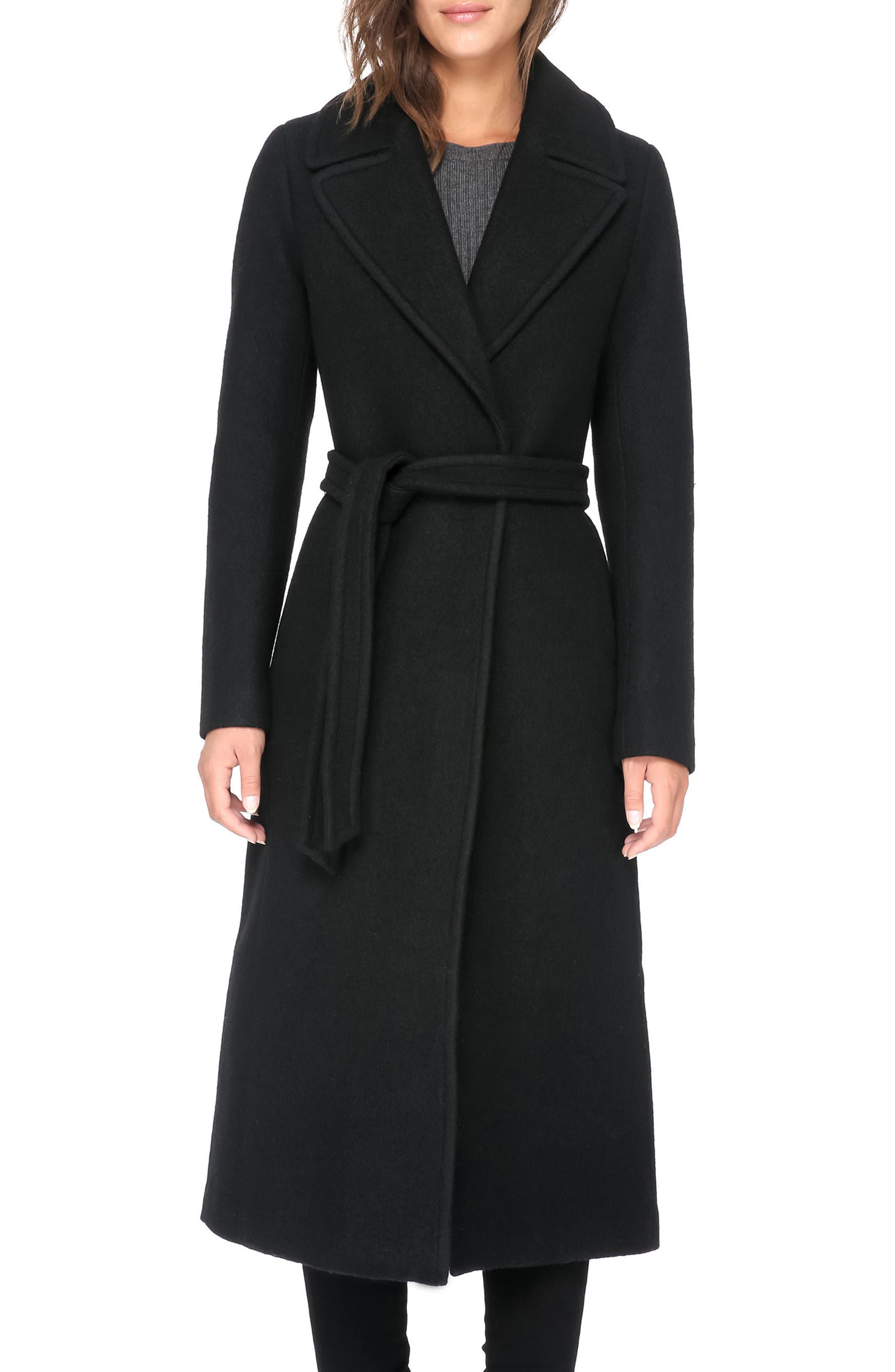 Belted Boiled Wool Coat,                         Main,                         color, Black