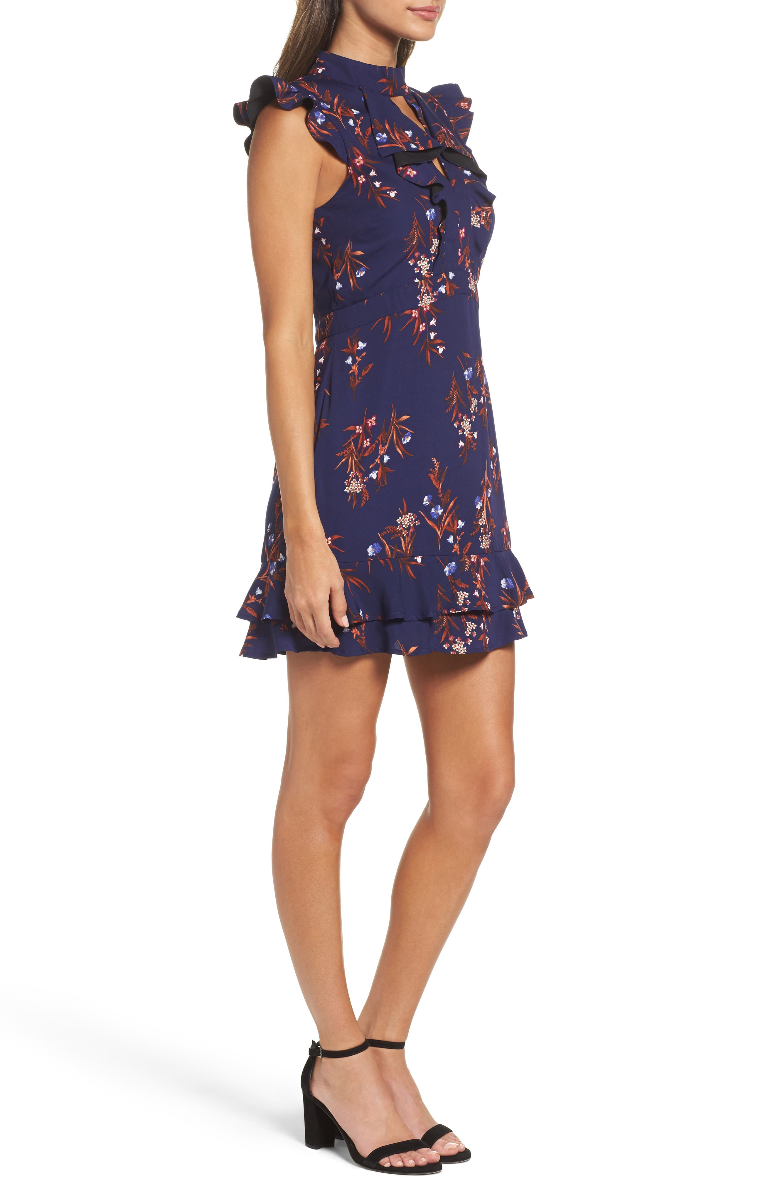 Phoebe Ruffle Fit & Flare Dress,                             Alternate thumbnail 3, color,                             Midnight/ Rust