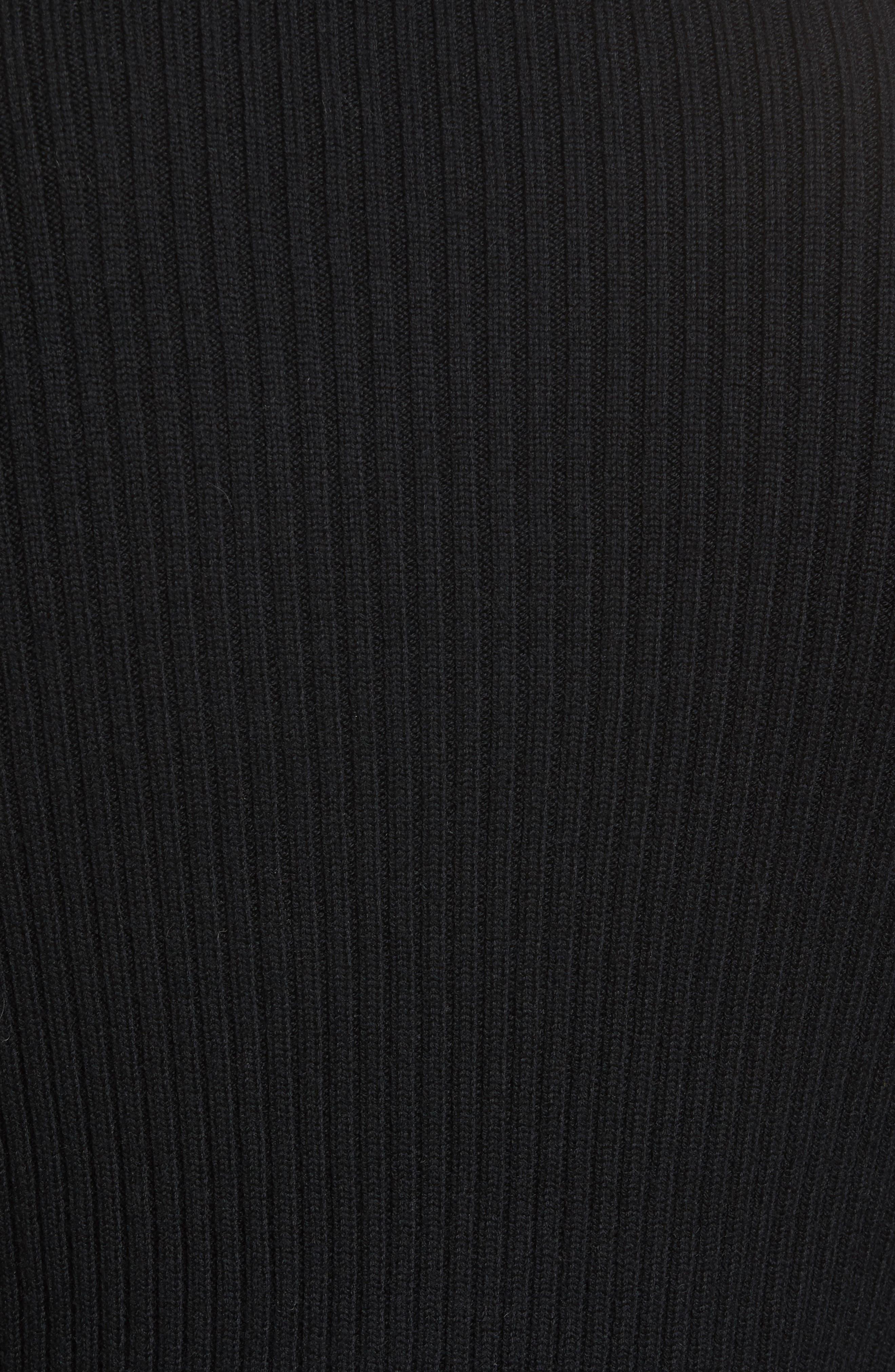 Ribbed Quarter Zip Mock Neck Sweater,                             Alternate thumbnail 6, color,                             Black